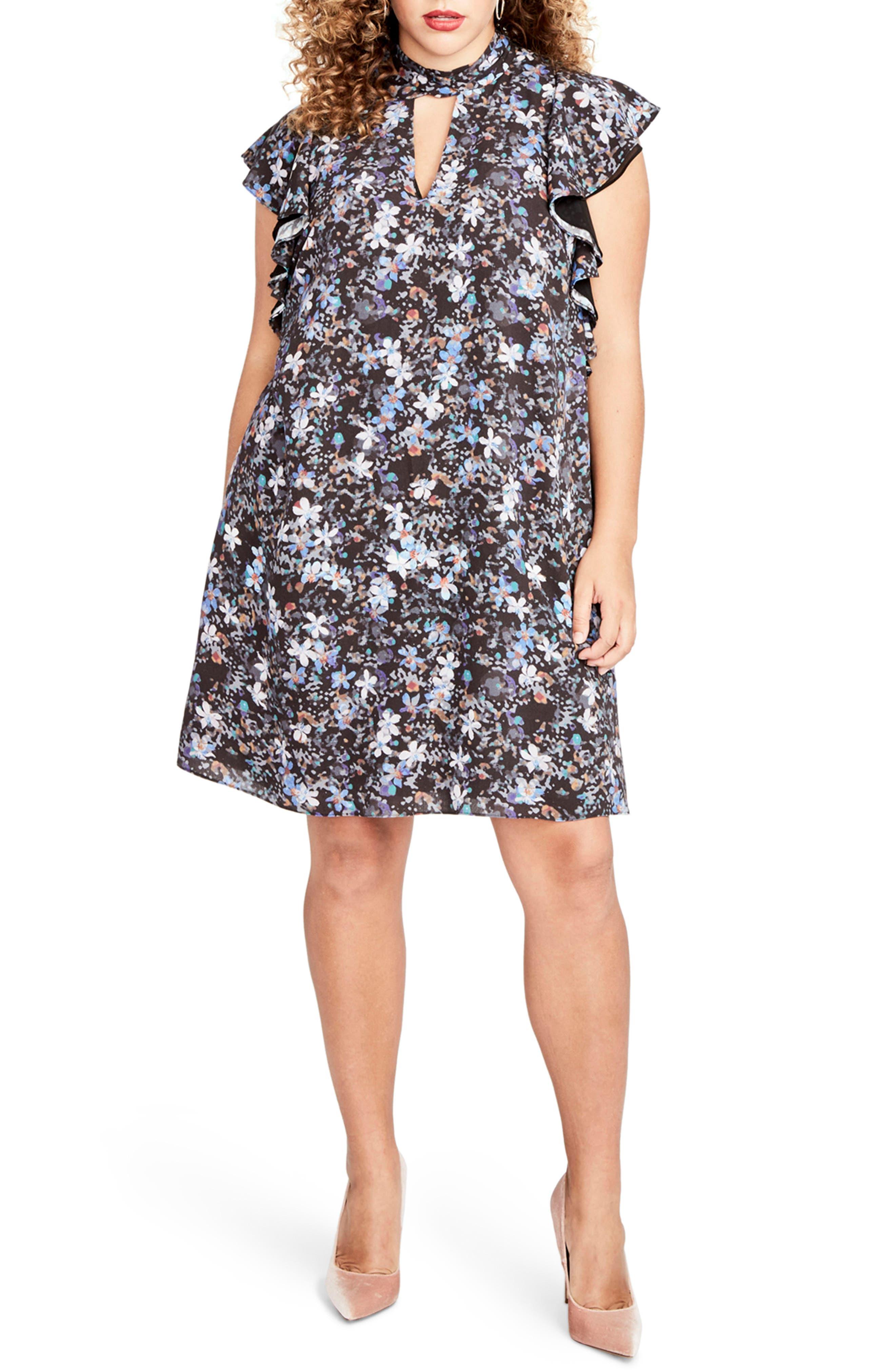 Ruffle Sleeve Floral Shift Dress,                             Main thumbnail 1, color,