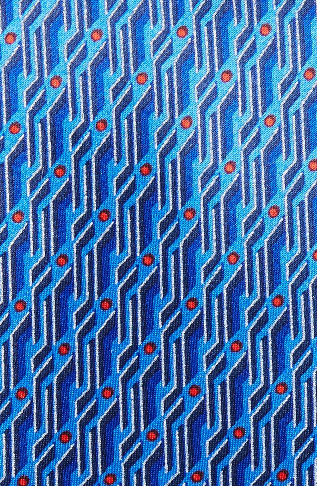 Geo Print Silk Tie,                             Alternate thumbnail 4, color,