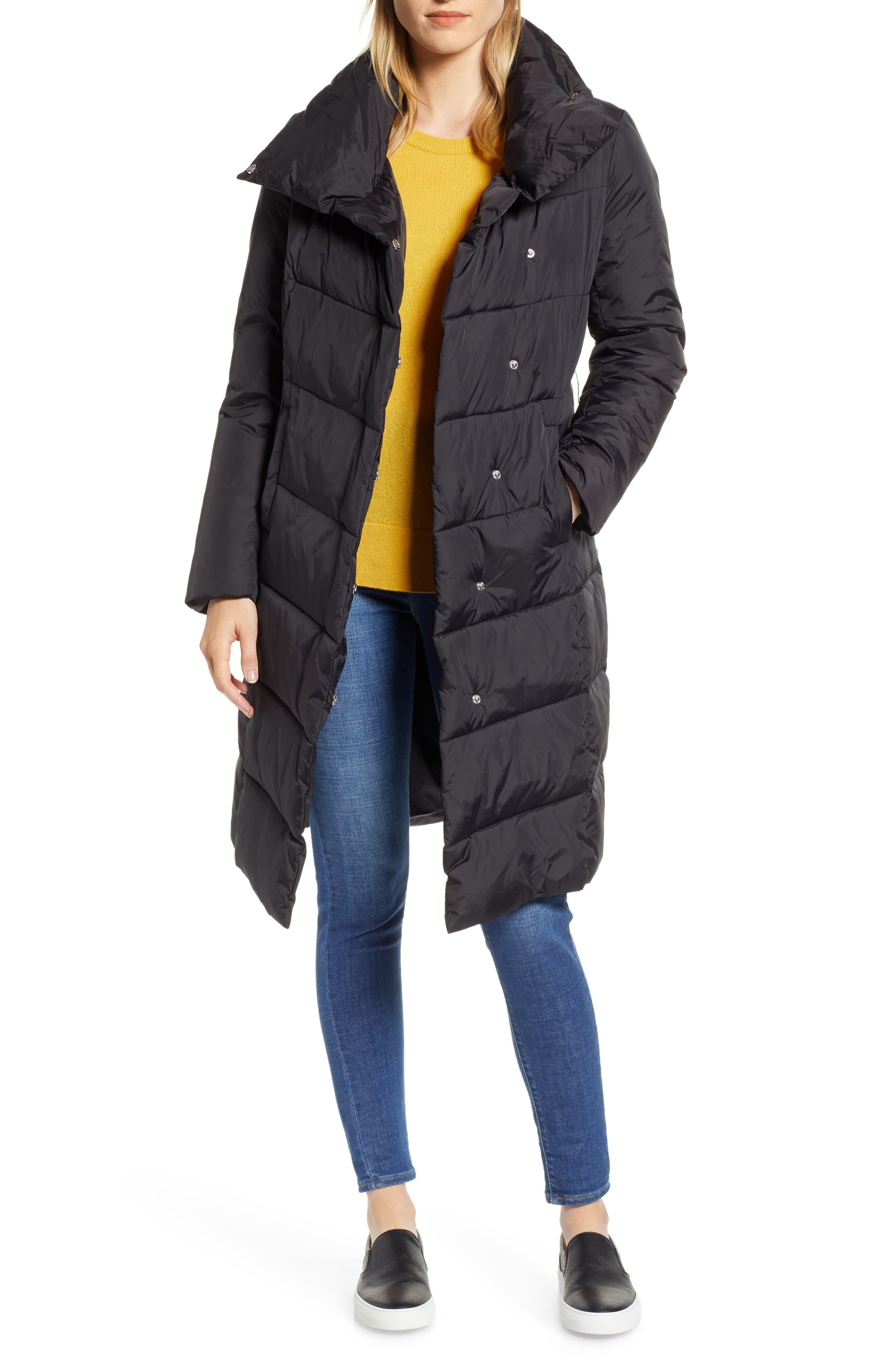 Long Puffer Coat,                         Main,                         color, BLACK