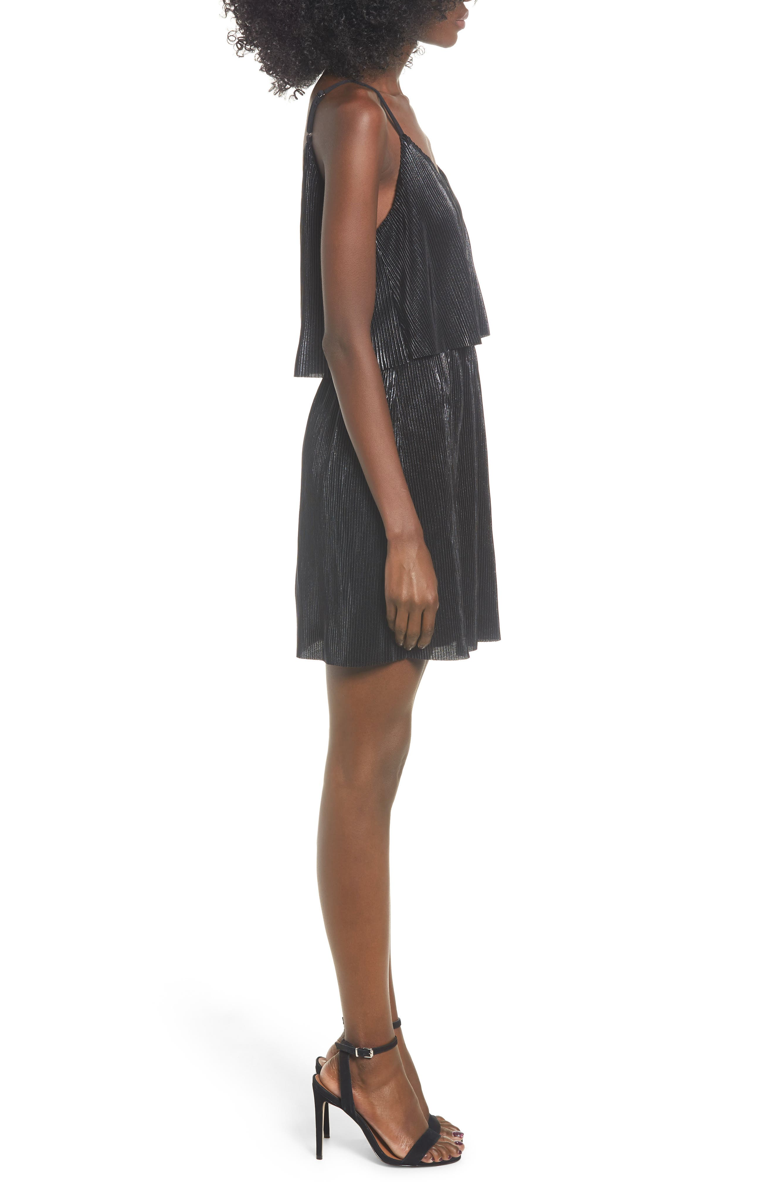 Shine On Shine On Pleated Dress,                             Alternate thumbnail 3, color,                             BLACK