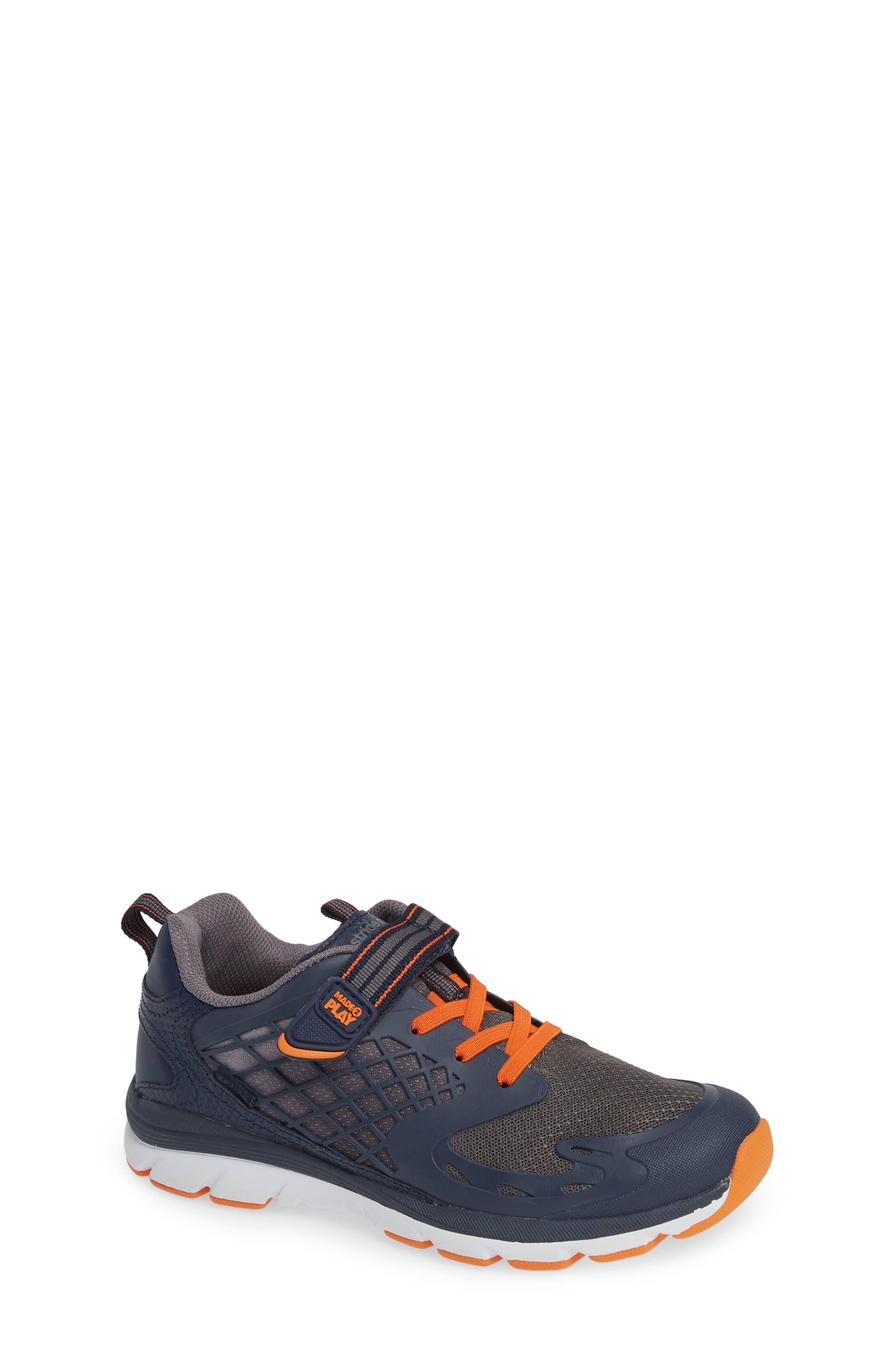 Made 2 Play Breccen Sneaker,                             Main thumbnail 1, color,                             NAVY/ ORANGE
