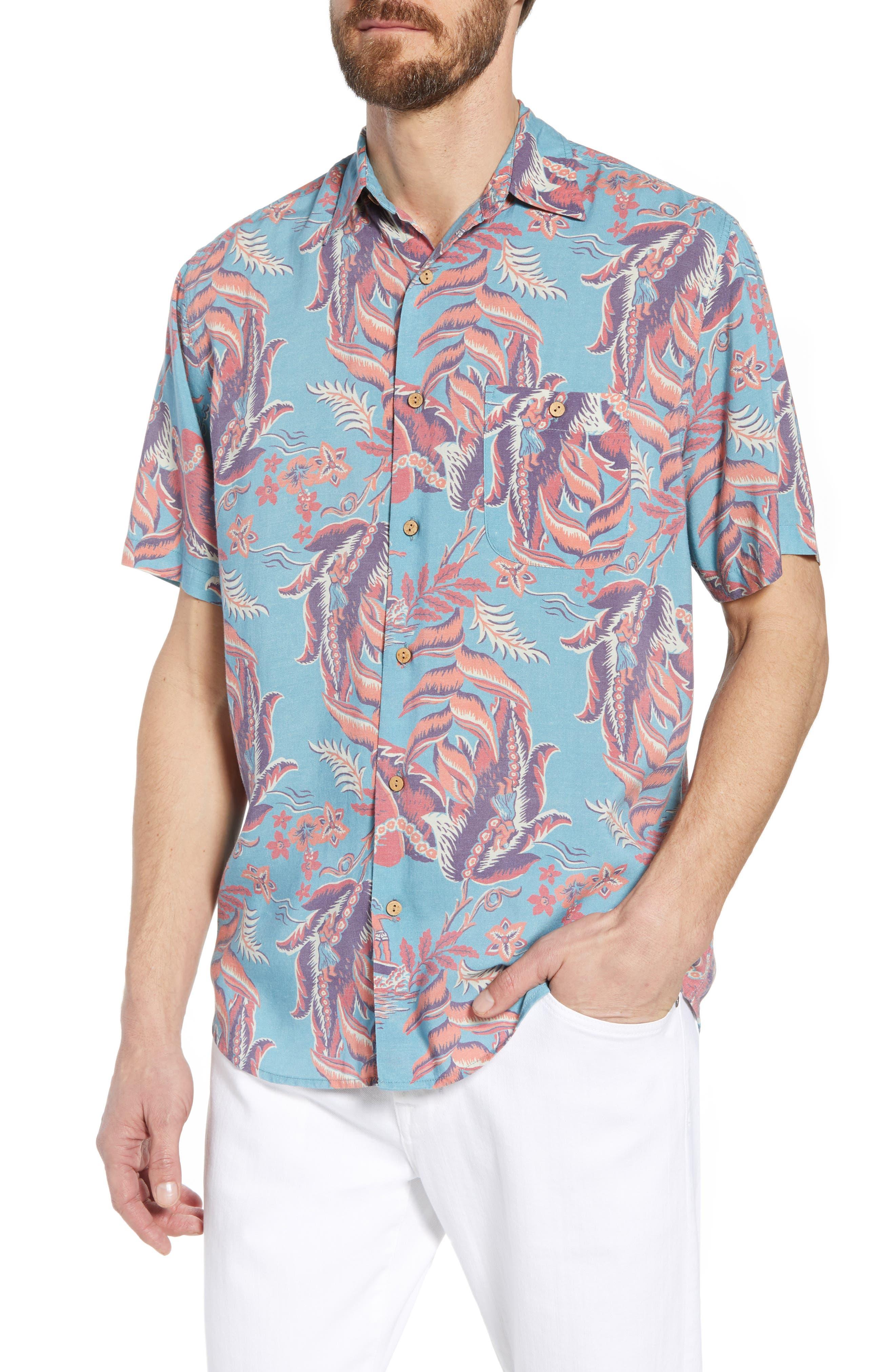 Hawaiian Print Sport Shirt,                         Main,                         color, 440