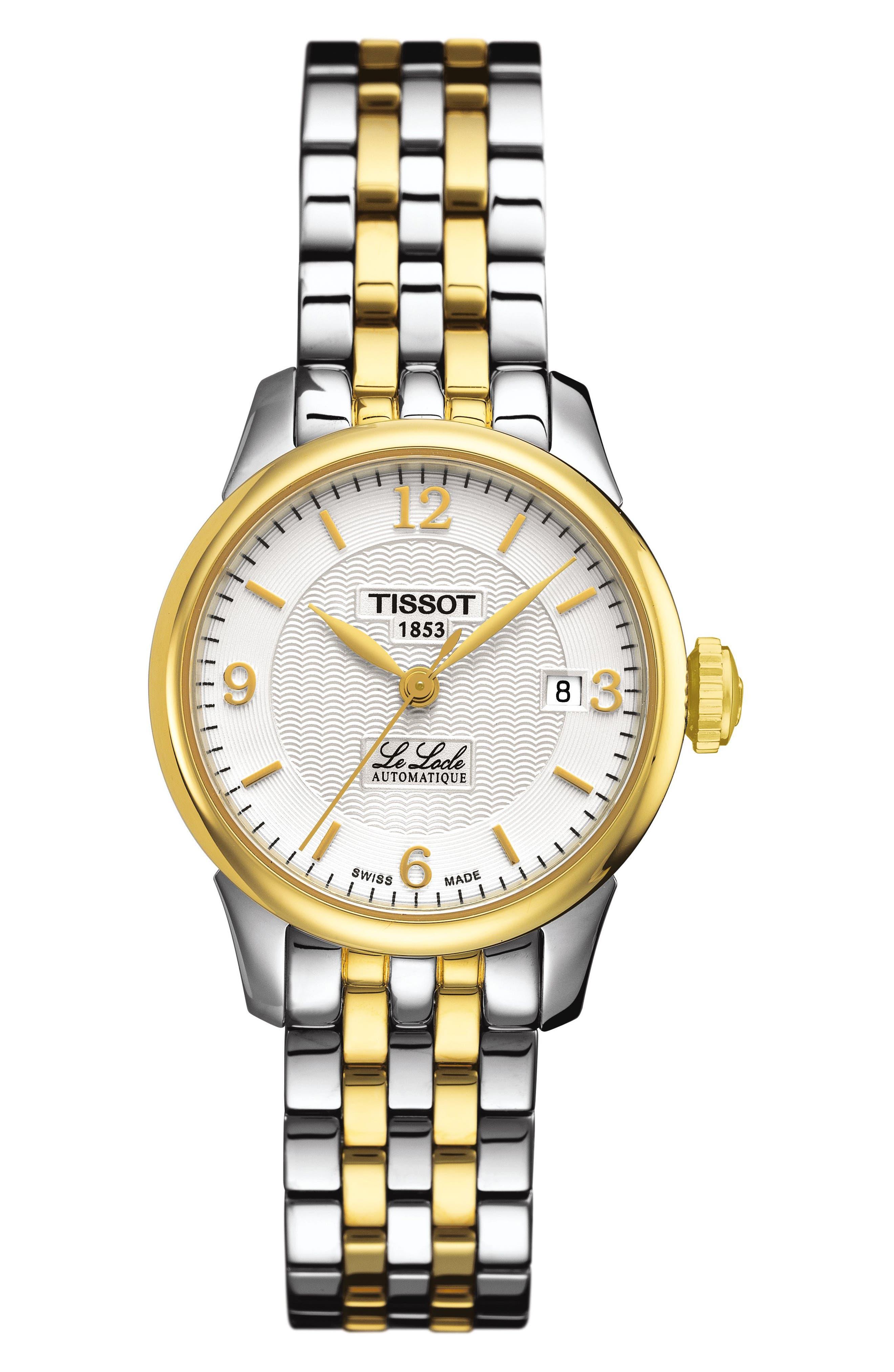 Le Locle Automatic Bracelet Watch, 25mm,                             Main thumbnail 1, color,                             SILVER/ GOLD