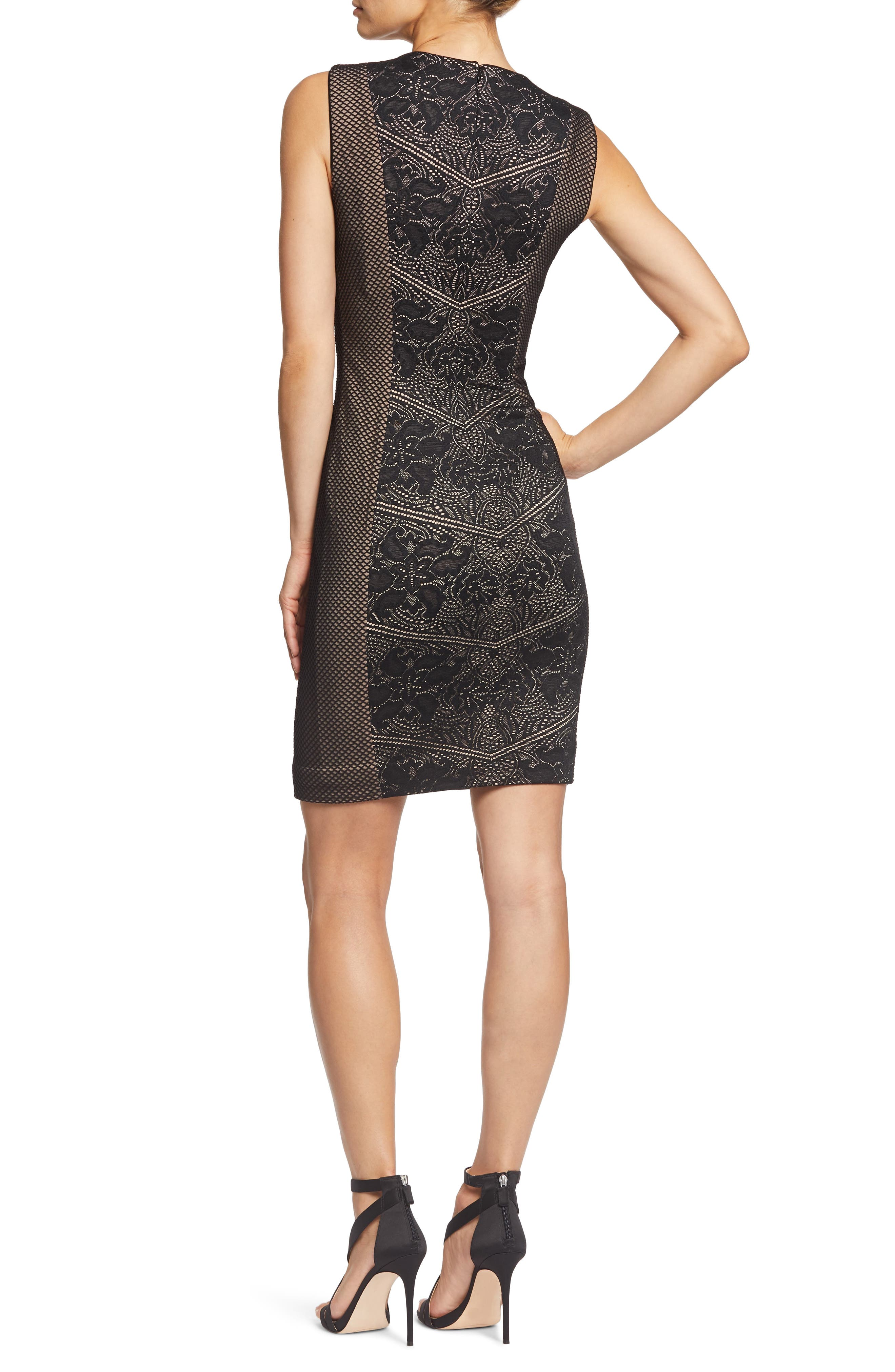 Tori Lace Overlay Body-Con Dress,                             Alternate thumbnail 2, color,                             BLACK