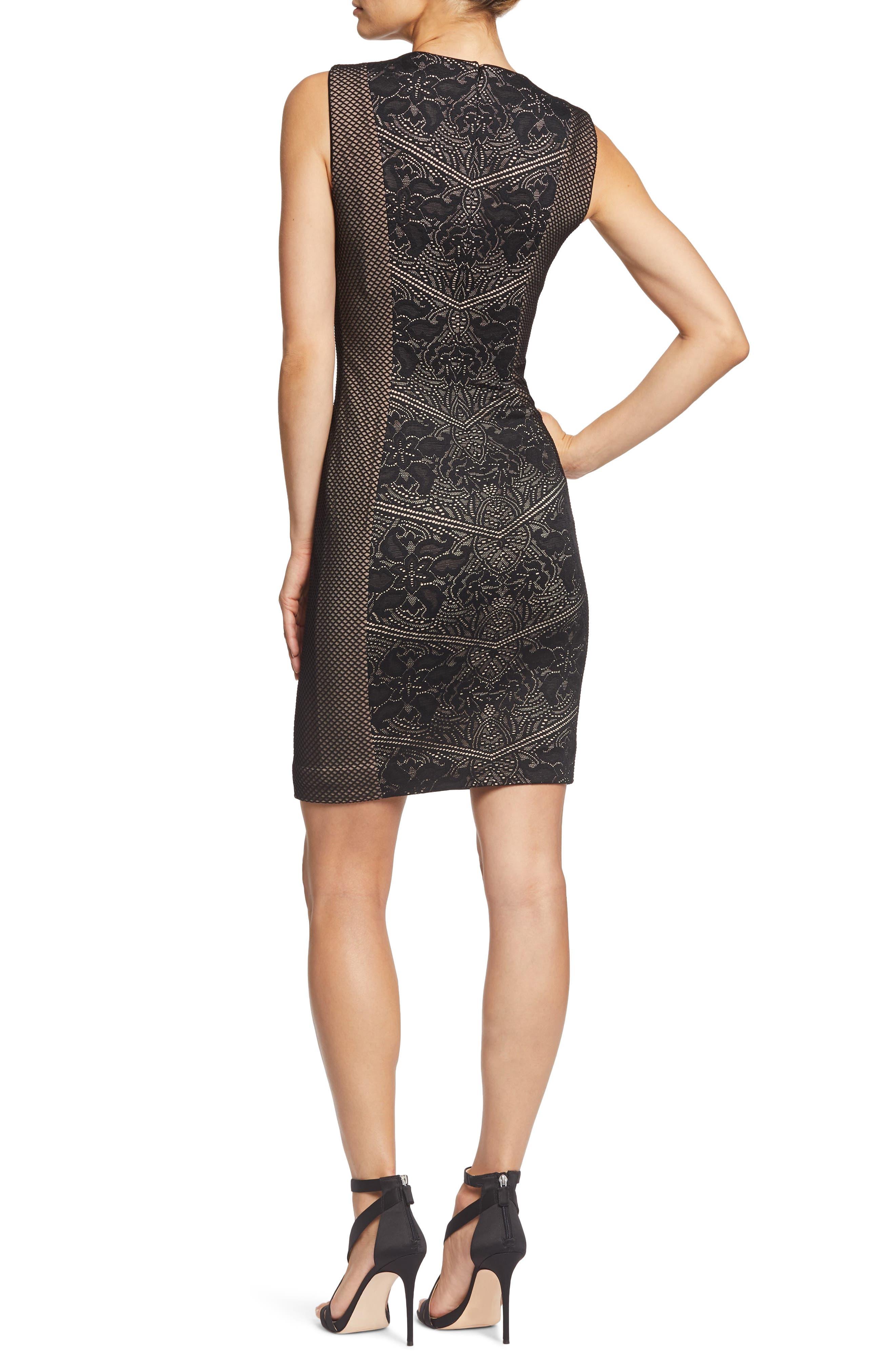 Tori Lace Overlay Body-Con Dress,                             Alternate thumbnail 2, color,                             001