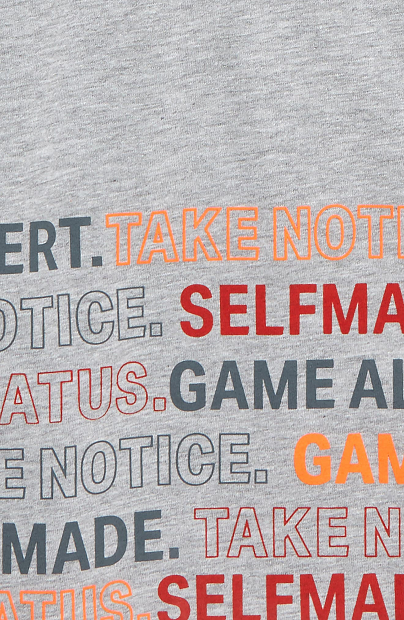 UNDER ARMOUR,                             Take Notice HeatGear<sup>®</sup> Graphic T-Shirt,                             Alternate thumbnail 2, color,                             MOD GRAY