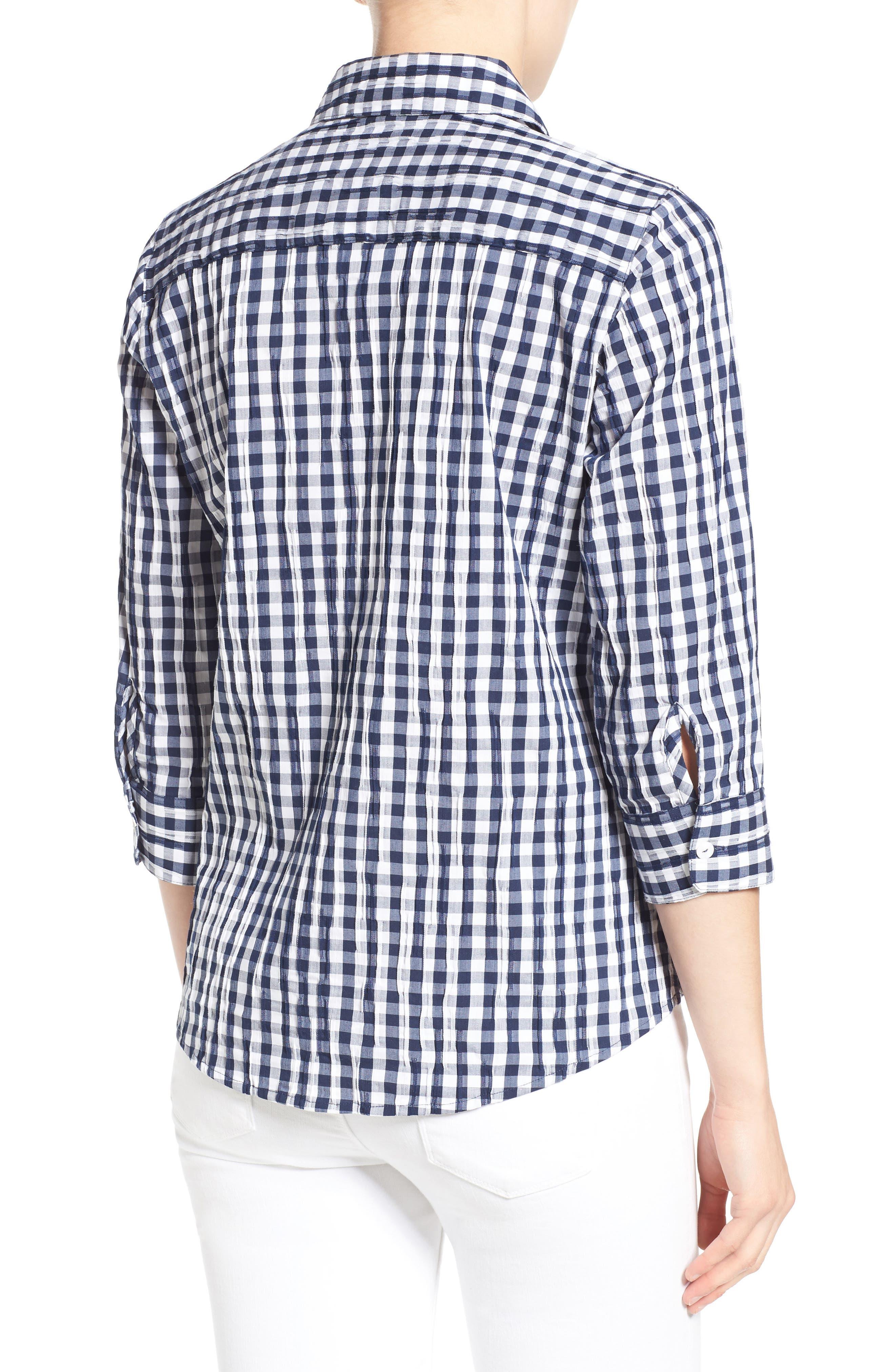 Crinkled Gingham Shirt,                             Alternate thumbnail 7, color,