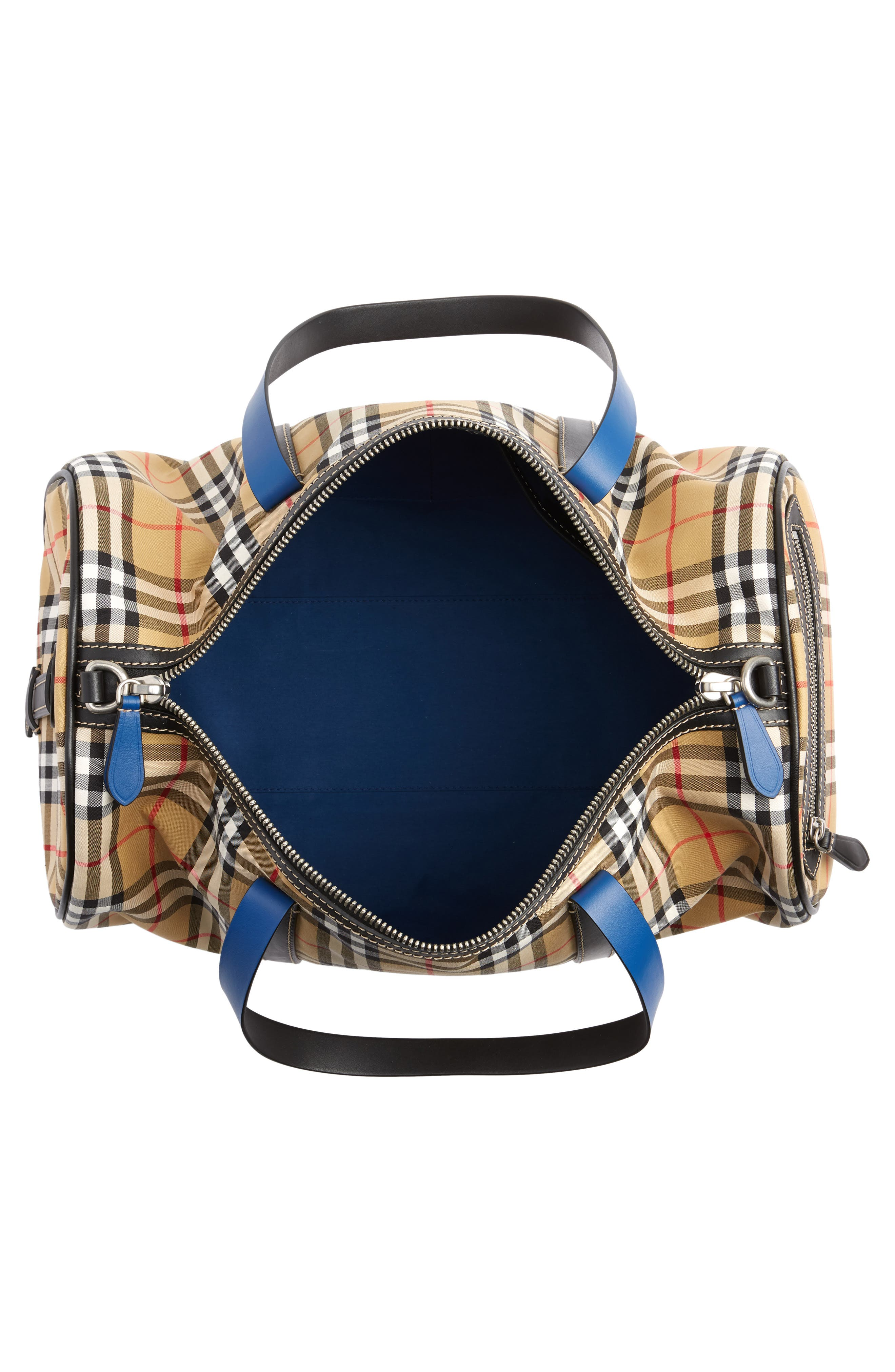 Medium Kennedy Vintage Check Duffel Bag,                             Alternate thumbnail 4, color,                             CANVAS BLUE