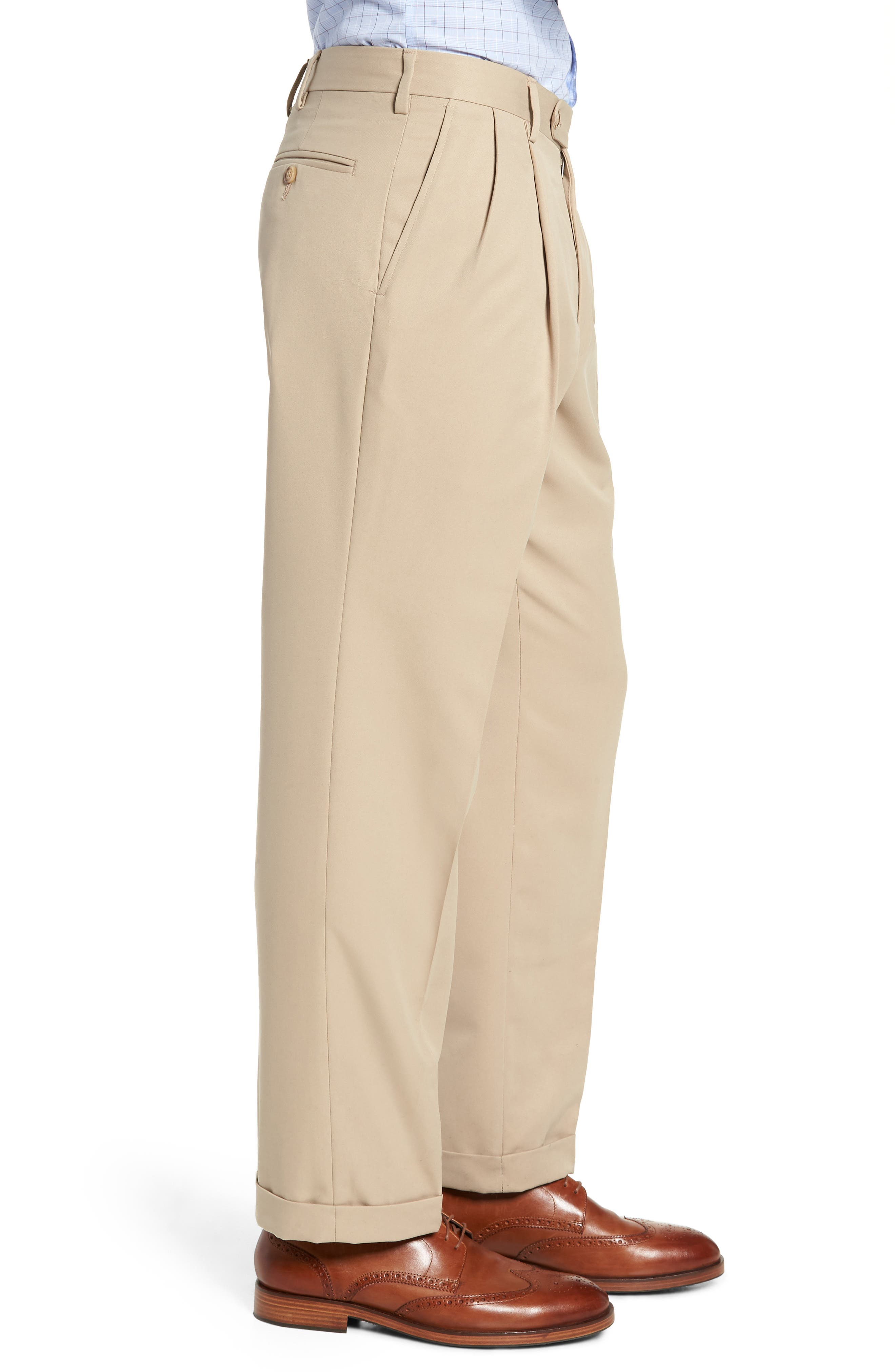 Classic Fit Pleated Microfiber Performance Trousers,                             Alternate thumbnail 3, color,                             TAN