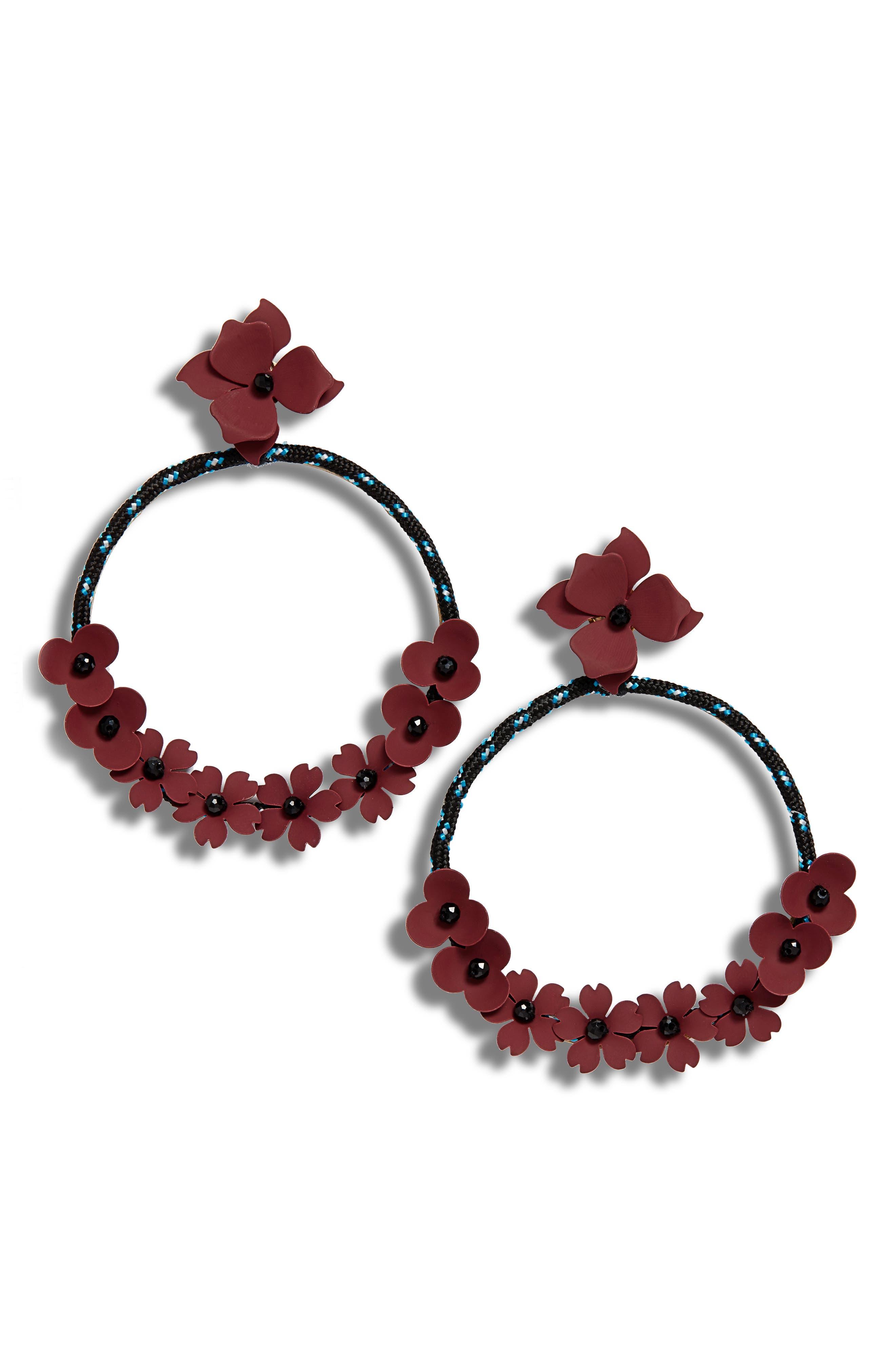 SEREFINA Flower Hoop Earrings in Purple