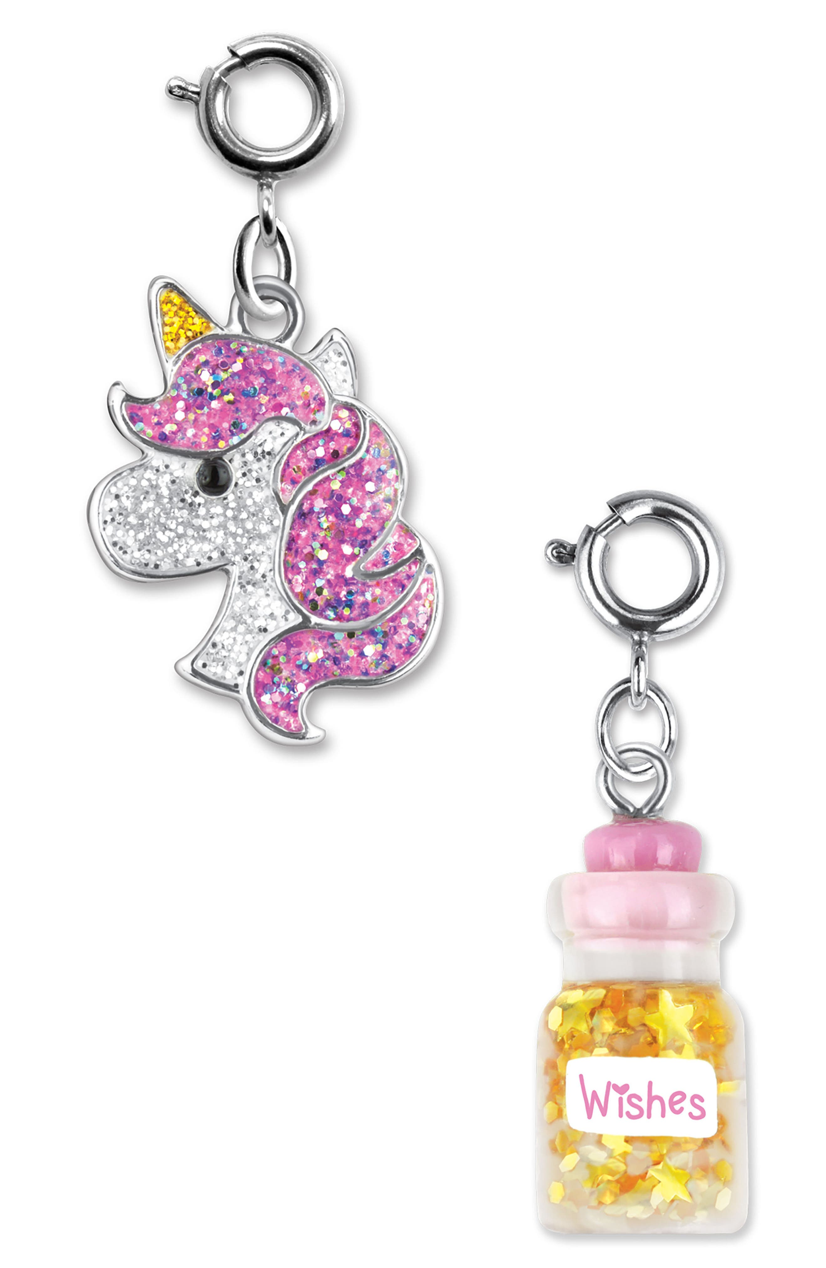 CHARM IT!<sup>®</sup> 2-Pack Glitter Unicorn & Wishes Bottle Charms,                             Main thumbnail 1, color,                             MULTI