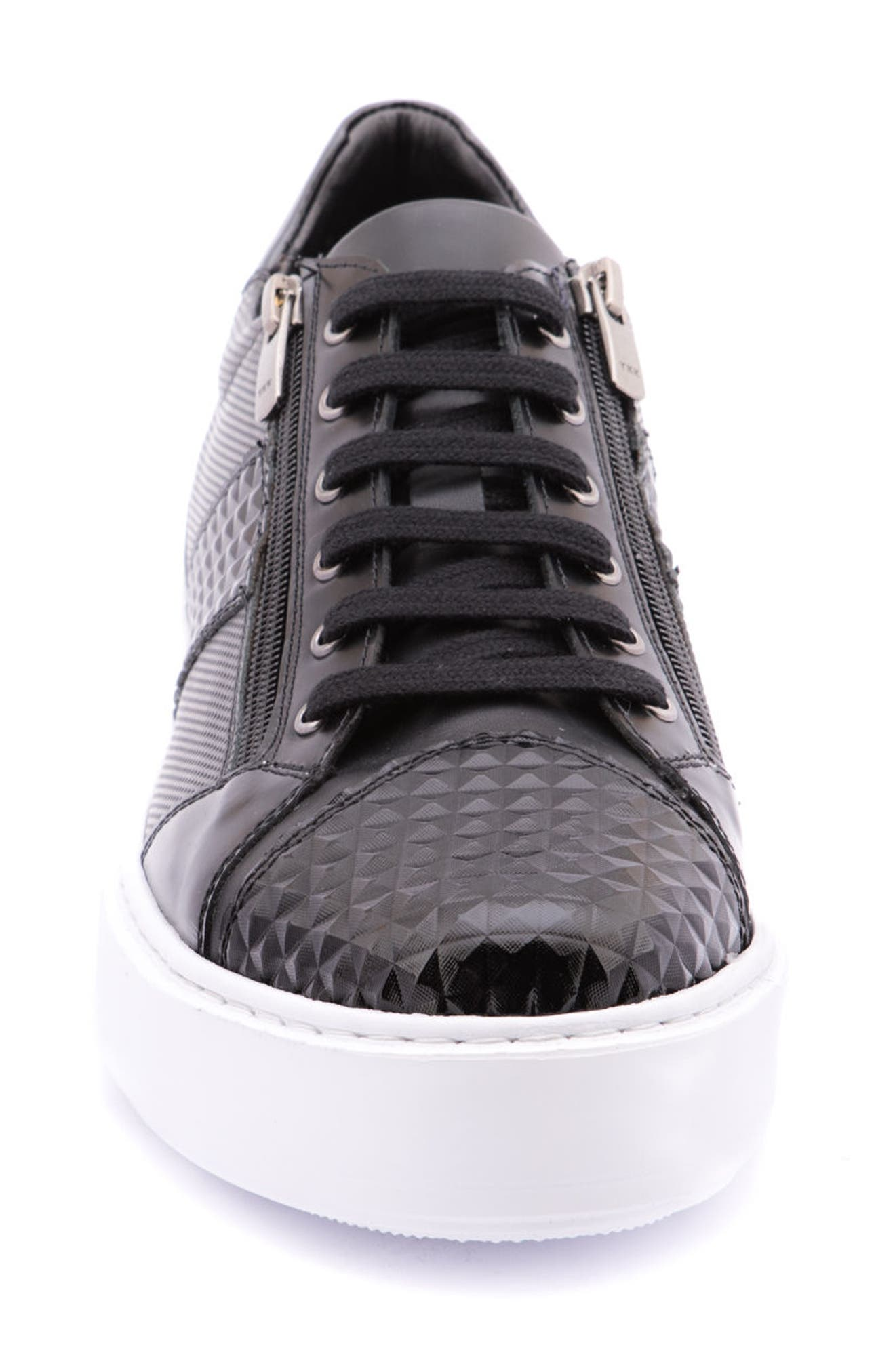 Justin Perforated Sneaker,                             Alternate thumbnail 4, color,                             BLACK