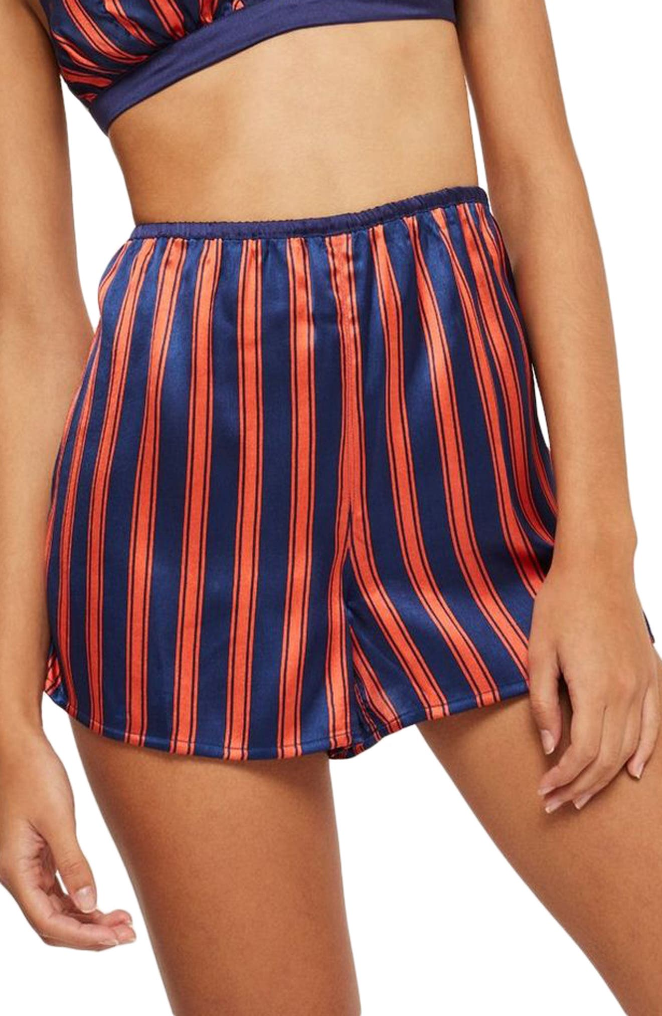 Striped Satin Pajama Shorts,                             Main thumbnail 1, color,                             NAVY MULTI