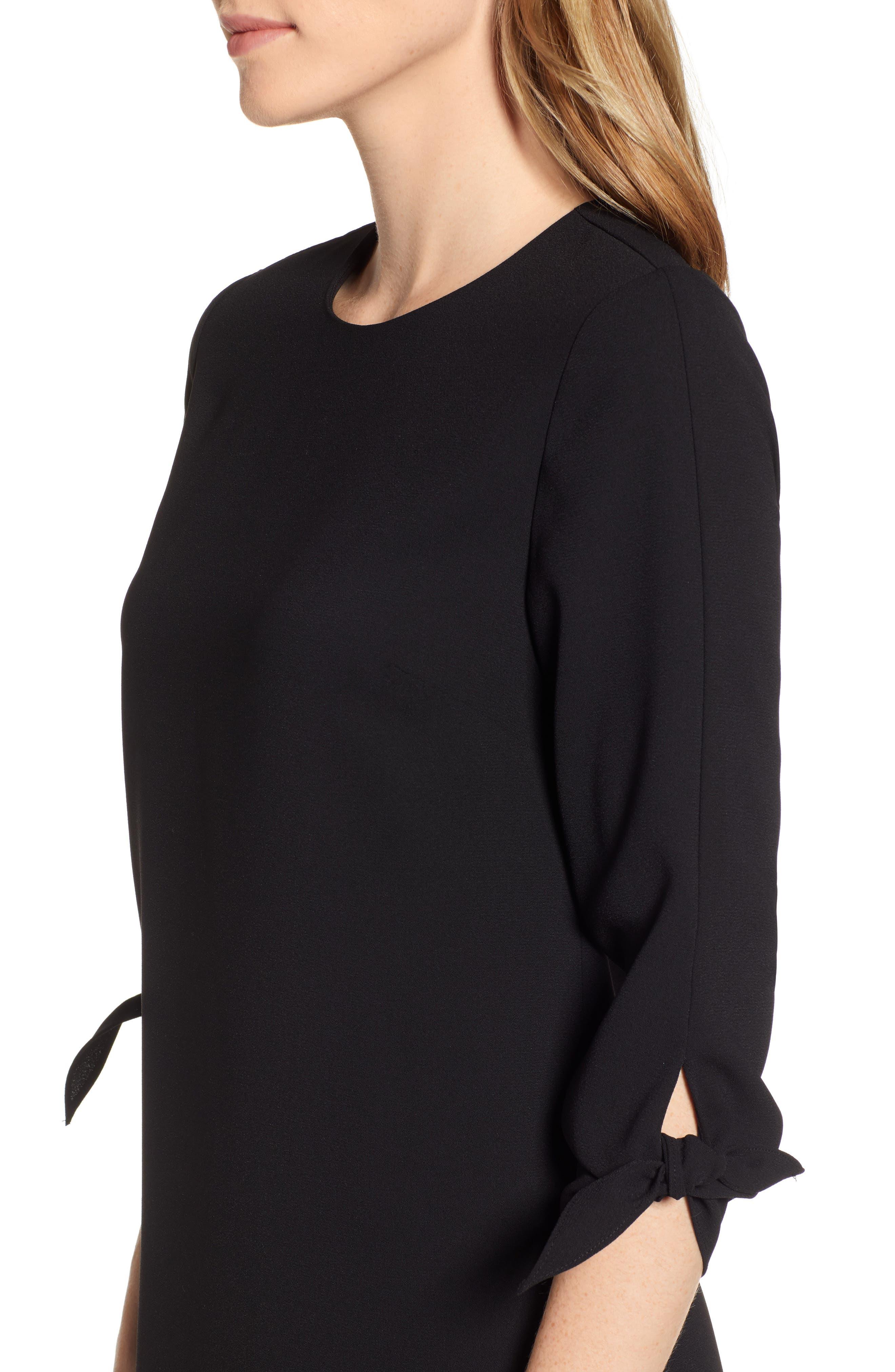 Tie Sleeve Shift Dress,                             Alternate thumbnail 4, color,                             RICH BLACK