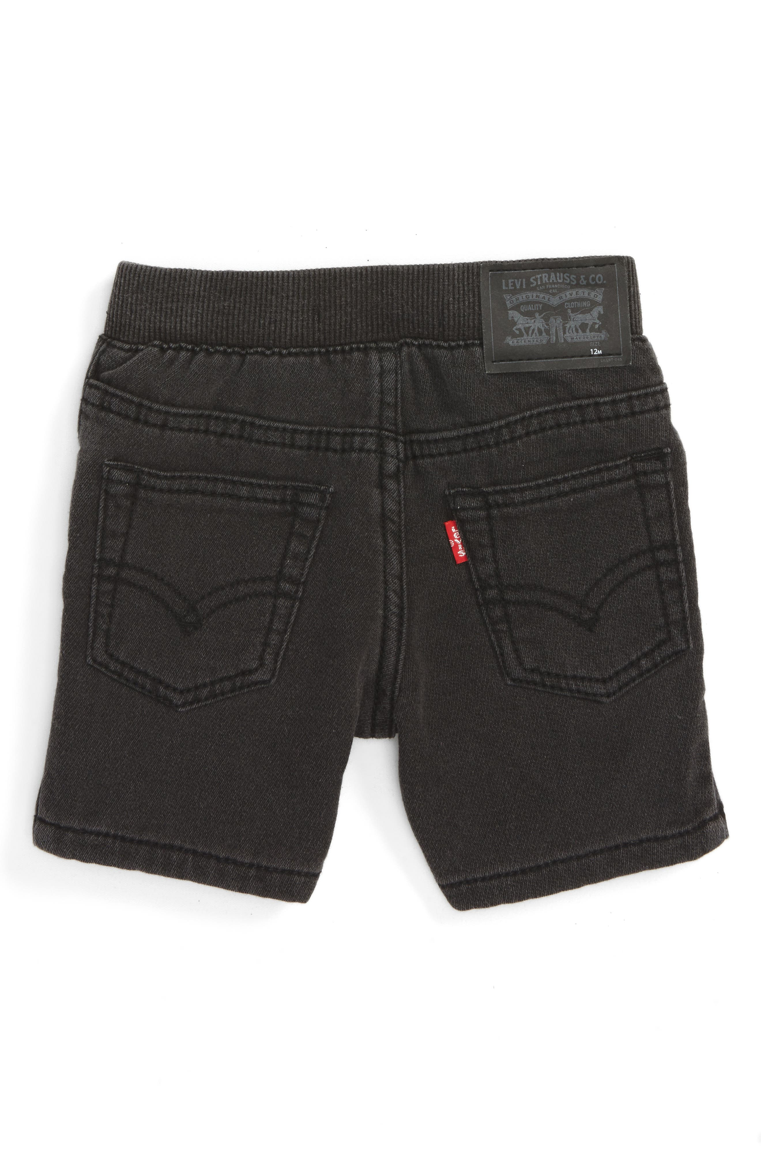 Knit Denim Shorts,                         Main,                         color, PEBBLE GREY
