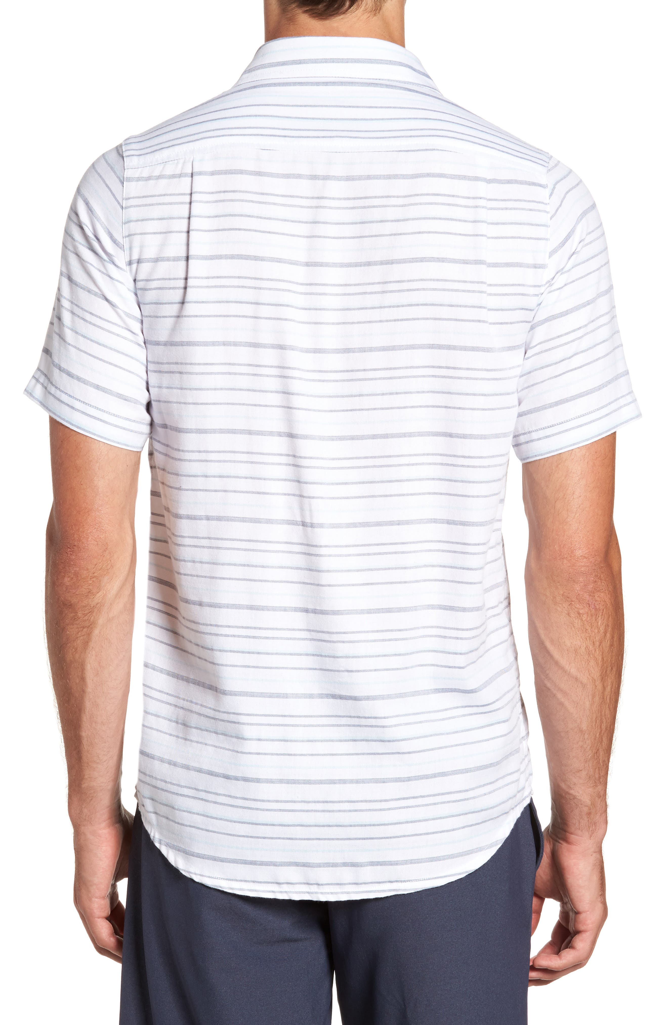 Long Board Stripe Sport Shirt,                             Alternate thumbnail 2, color,                             100