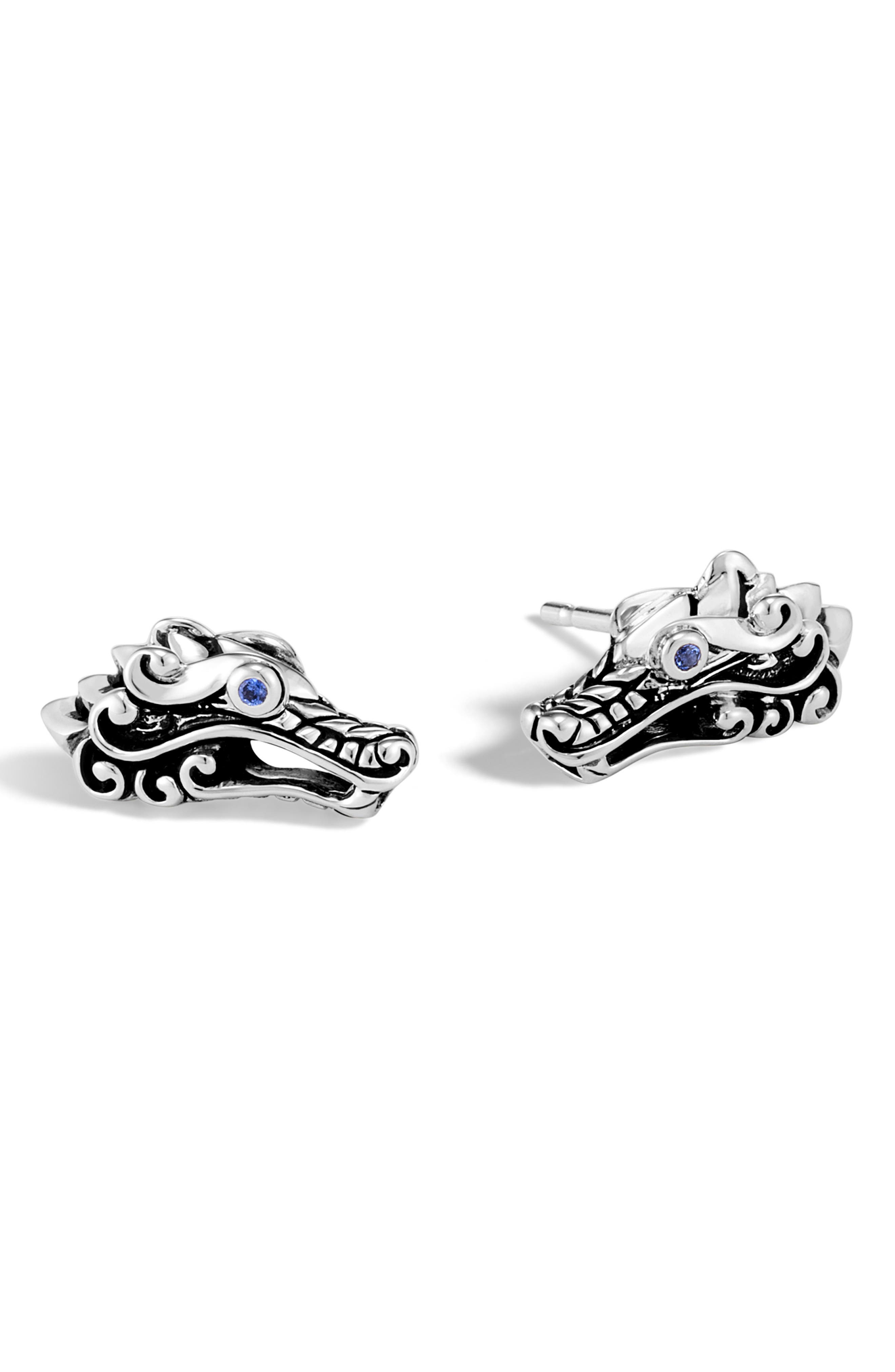 Sterling Silver Legends Naga Stud Earrings With Blue Sapphire in Silver/ Blue Sapphire