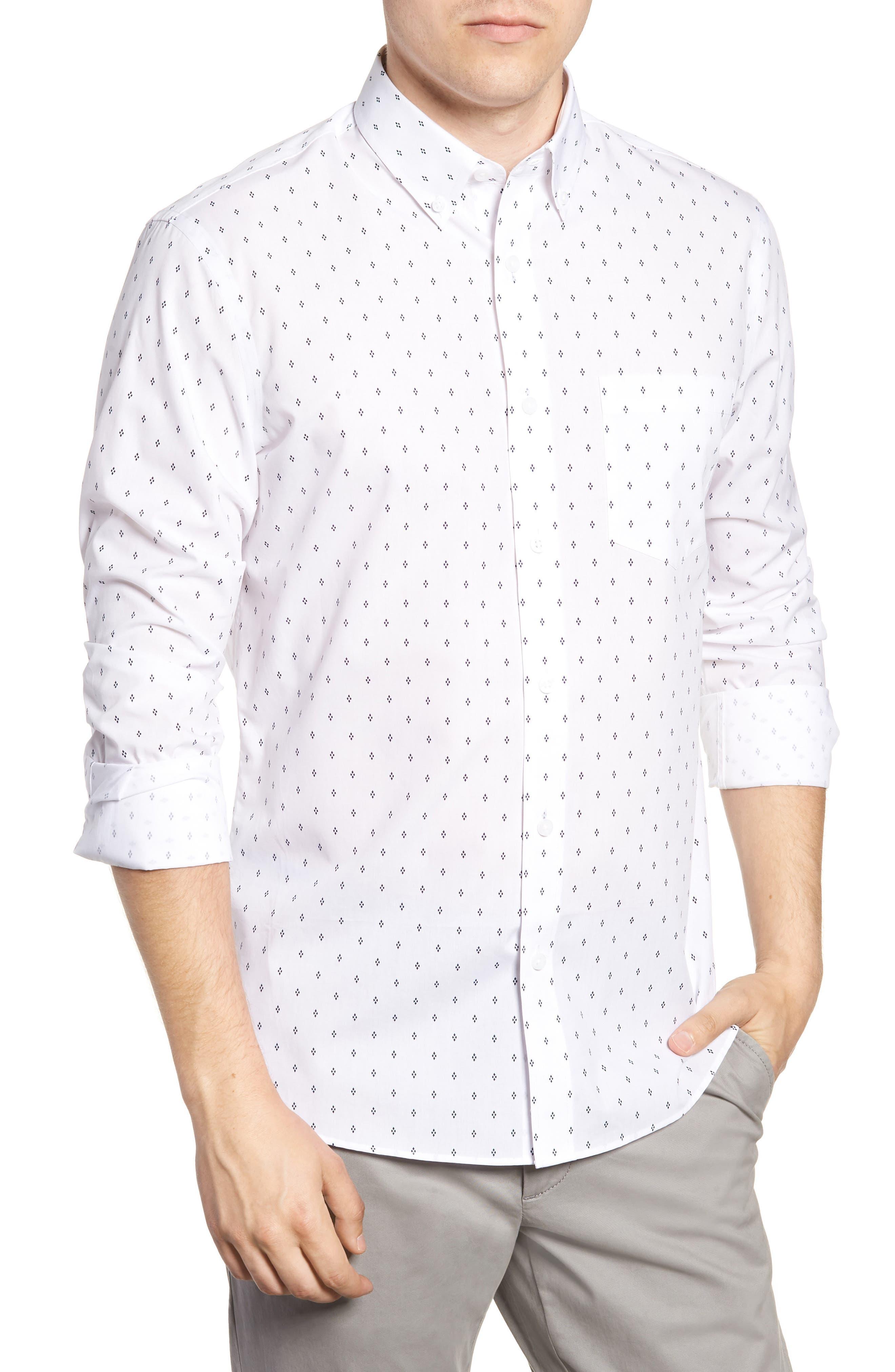 Slim Fit Non-Iron Print Sport Shirt,                         Main,                         color, WHITE NAVY IRIS DIAMOND