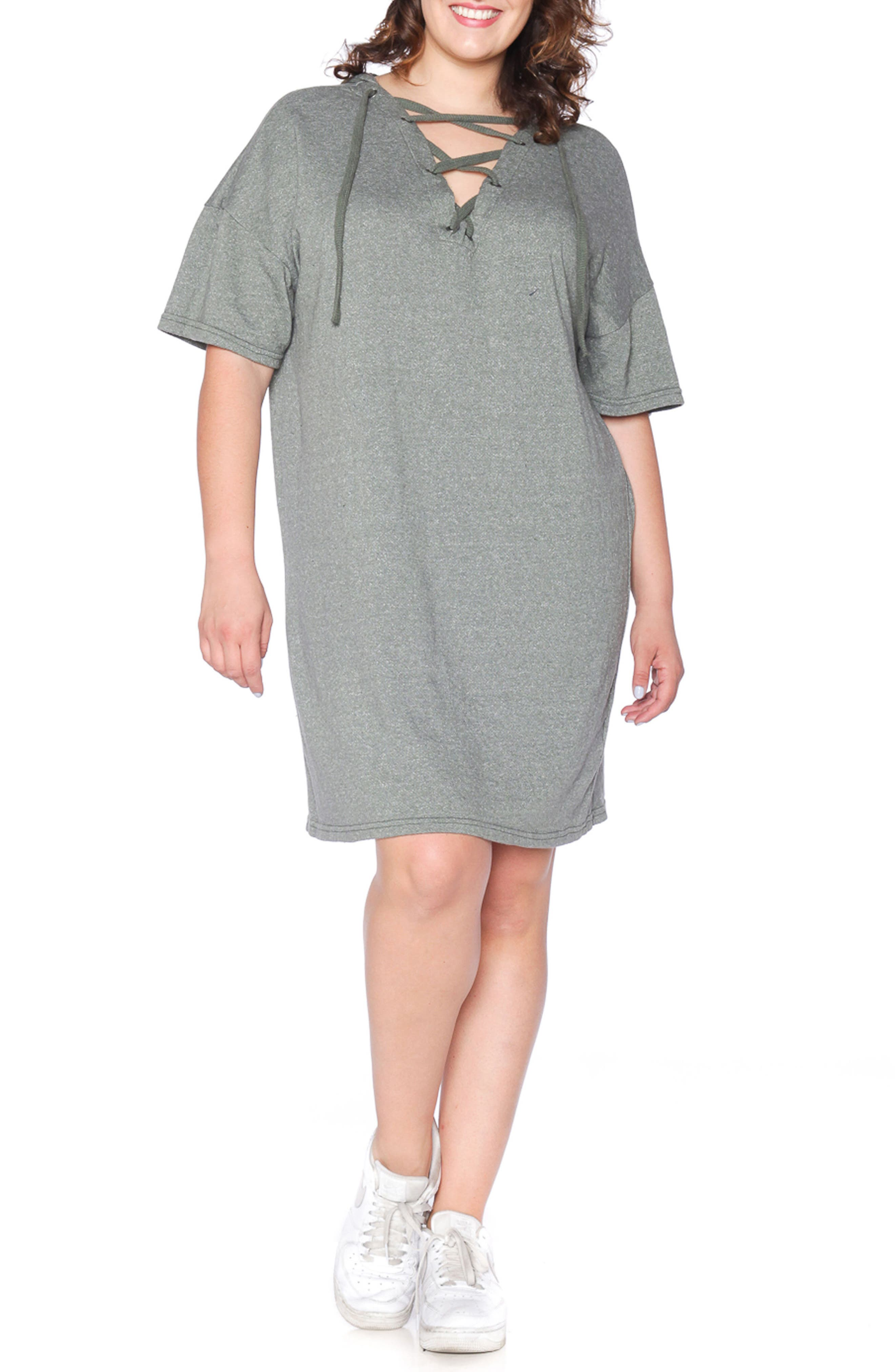 Lace-Up Hoodie Dress,                             Main thumbnail 2, color,