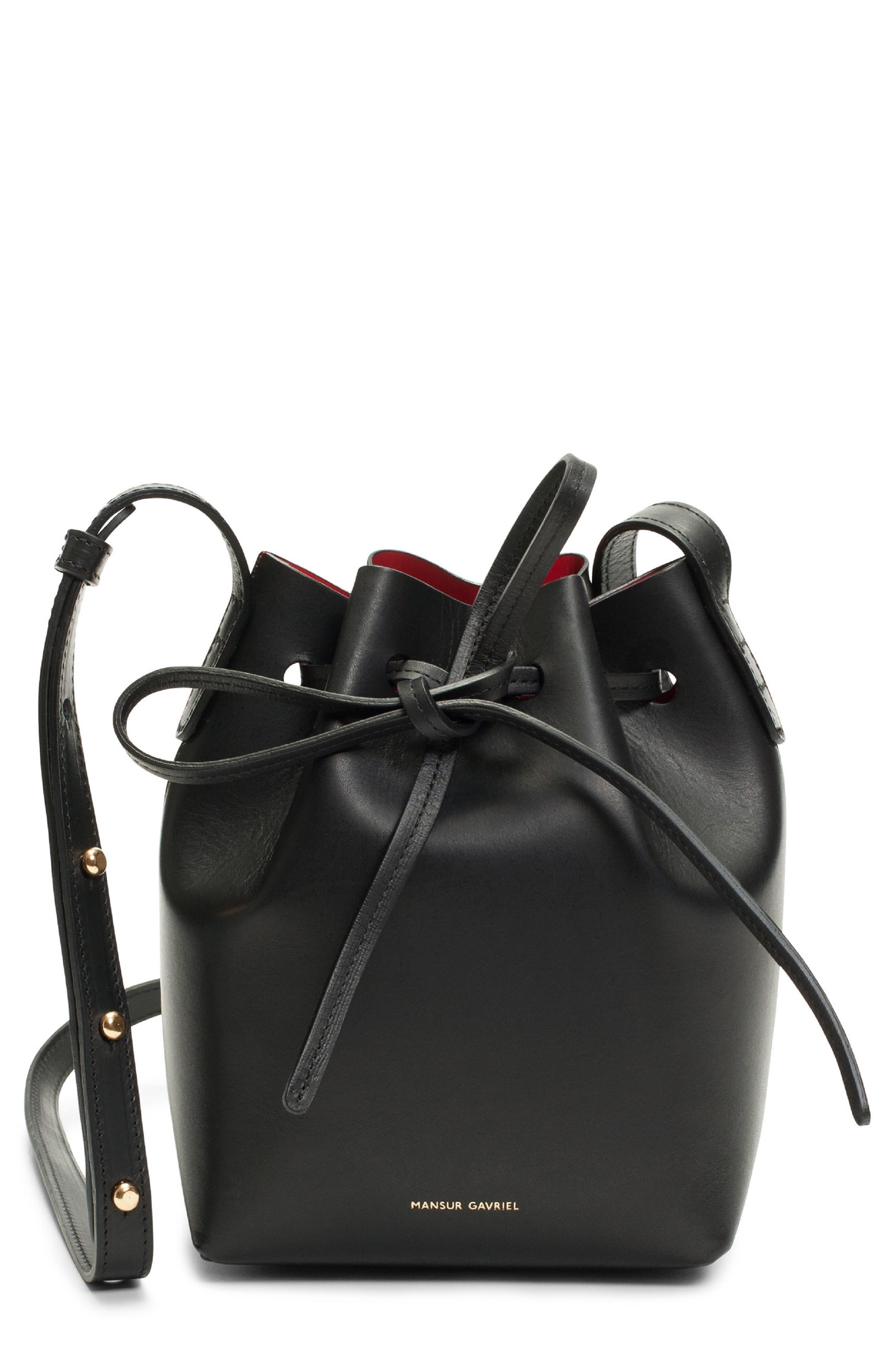 Mini Mini Leather Bucket Bag,                         Main,                         color, BLACK/ FLAMMA
