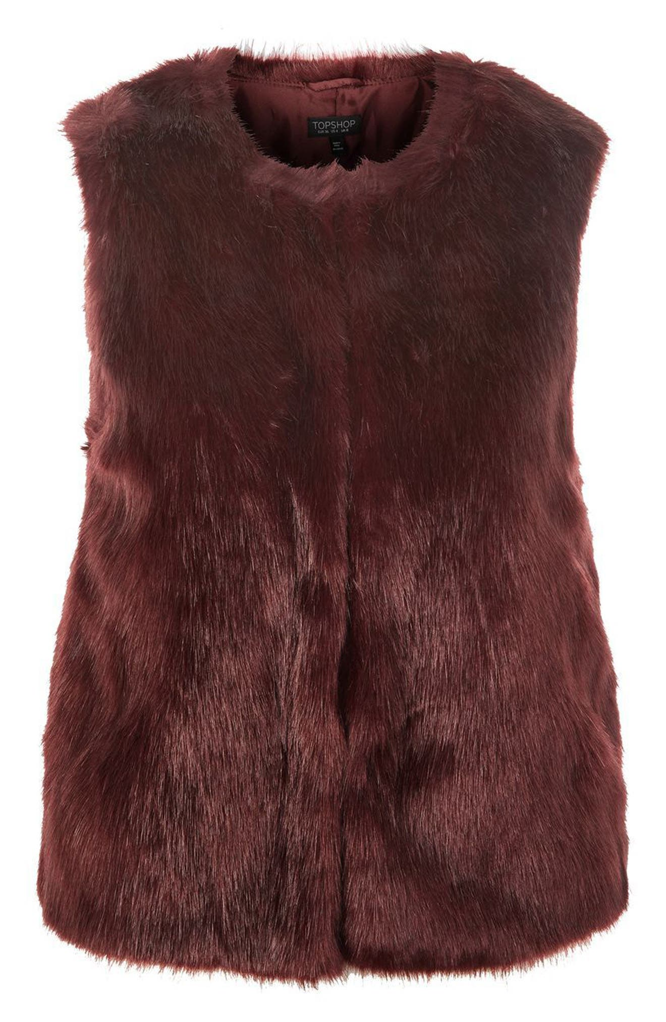 TOPSHOP,                             Clair Faux Fur Vest,                             Alternate thumbnail 4, color,                             020