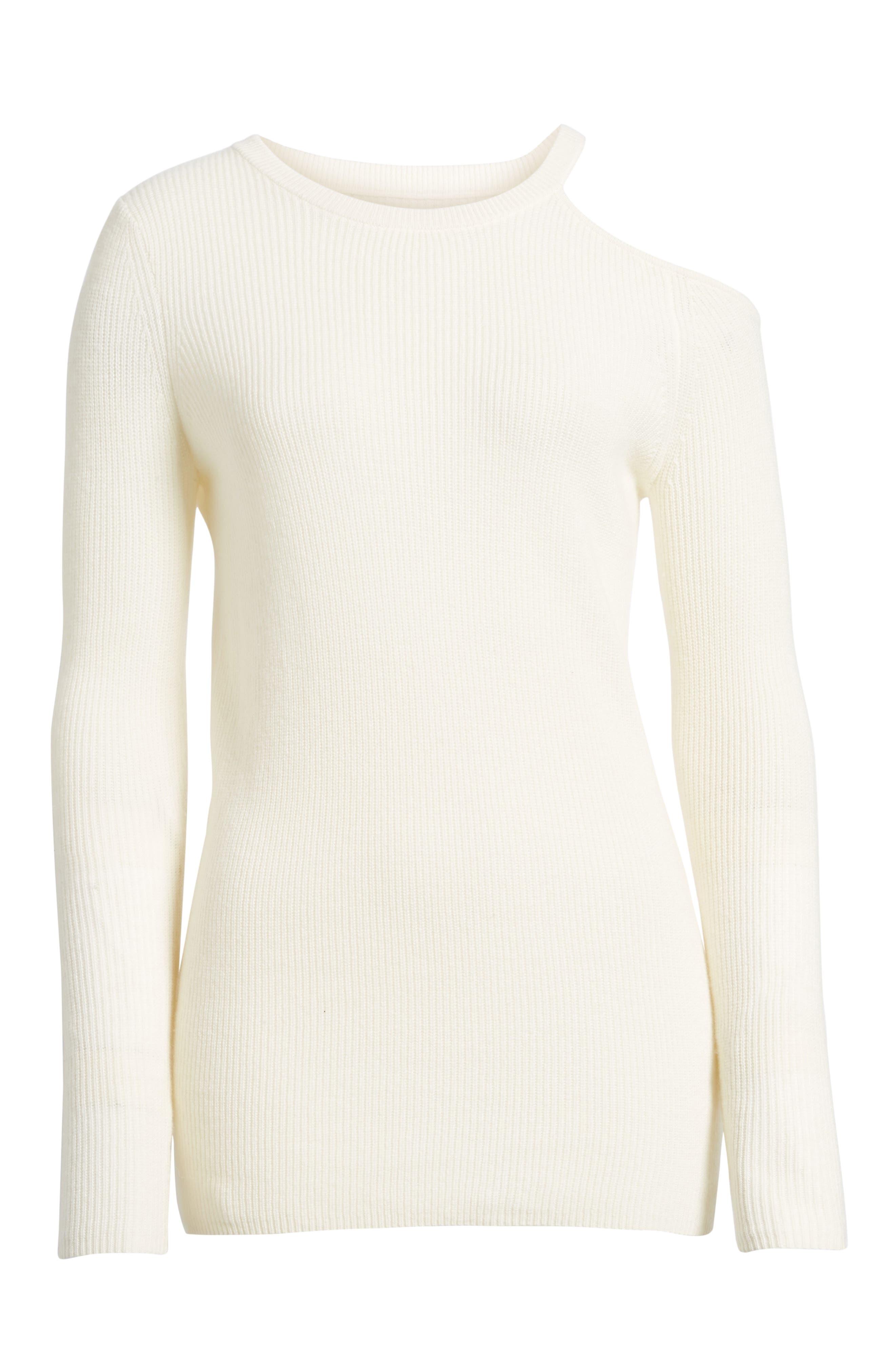 Cold Shoulder Cashmere Sweater,                             Alternate thumbnail 6, color,                             905