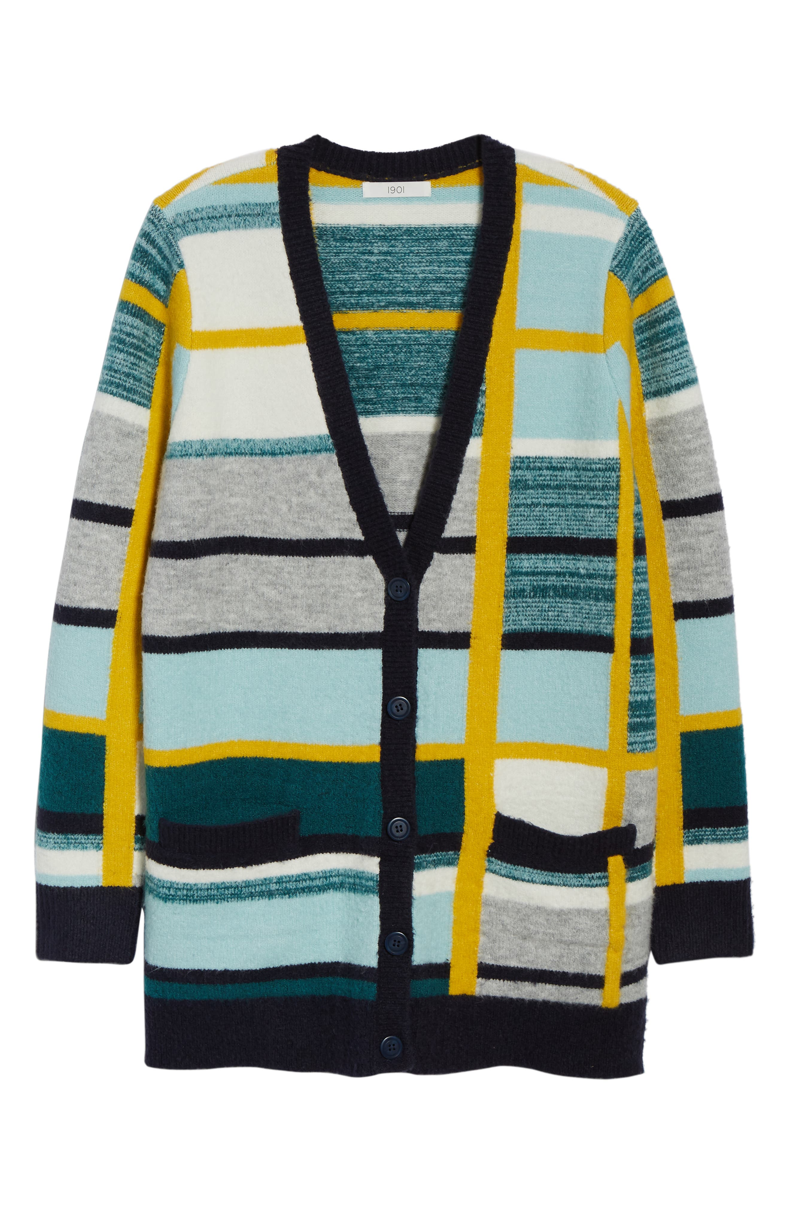 Abstract Plaid Button Front Cardigan Sweater,                             Alternate thumbnail 6, color,                             TEAL ABSTRACT PLAID