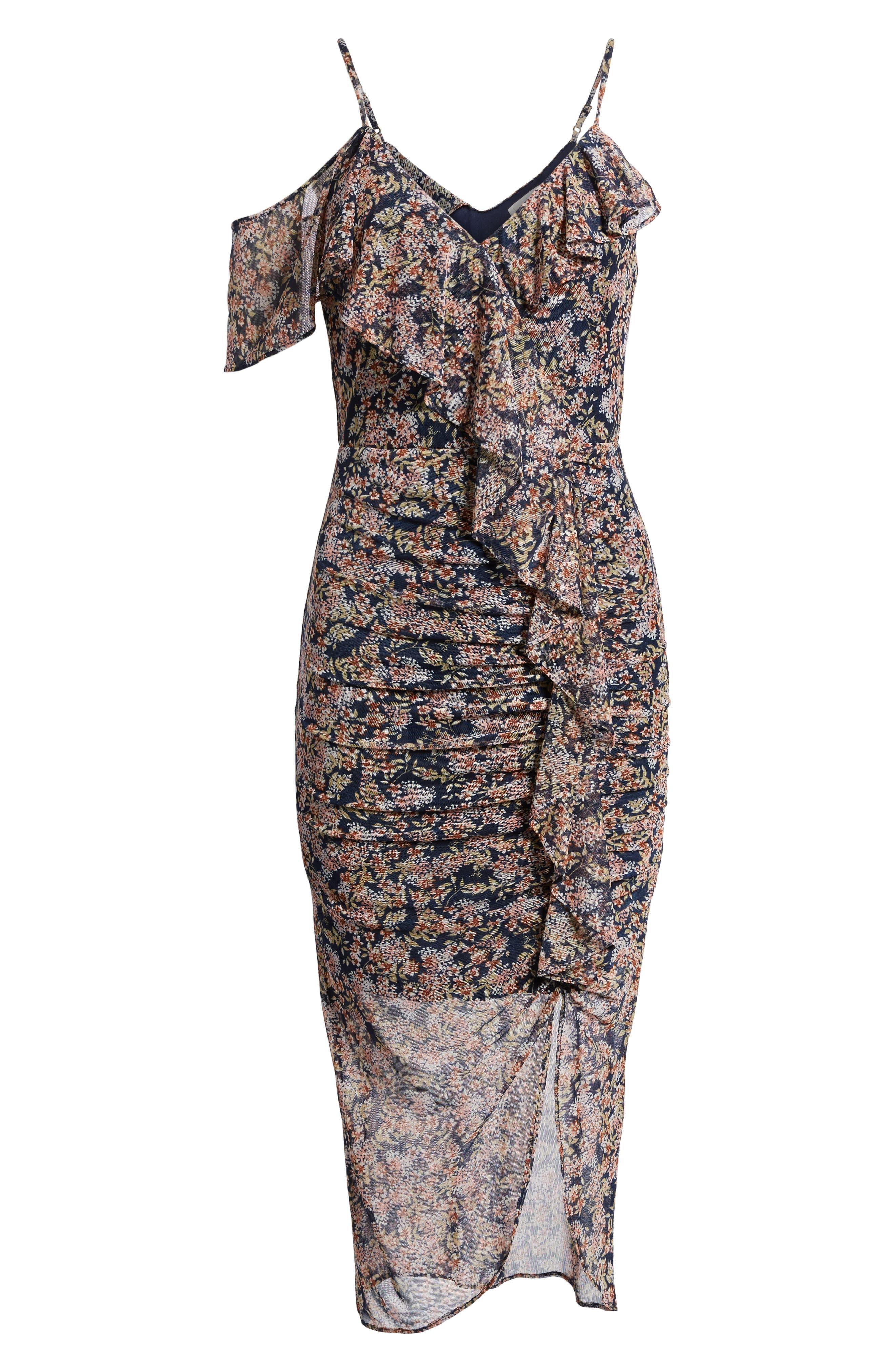 Cold Shoulder Ruffle Mesh Dress,                             Alternate thumbnail 6, color,                             410