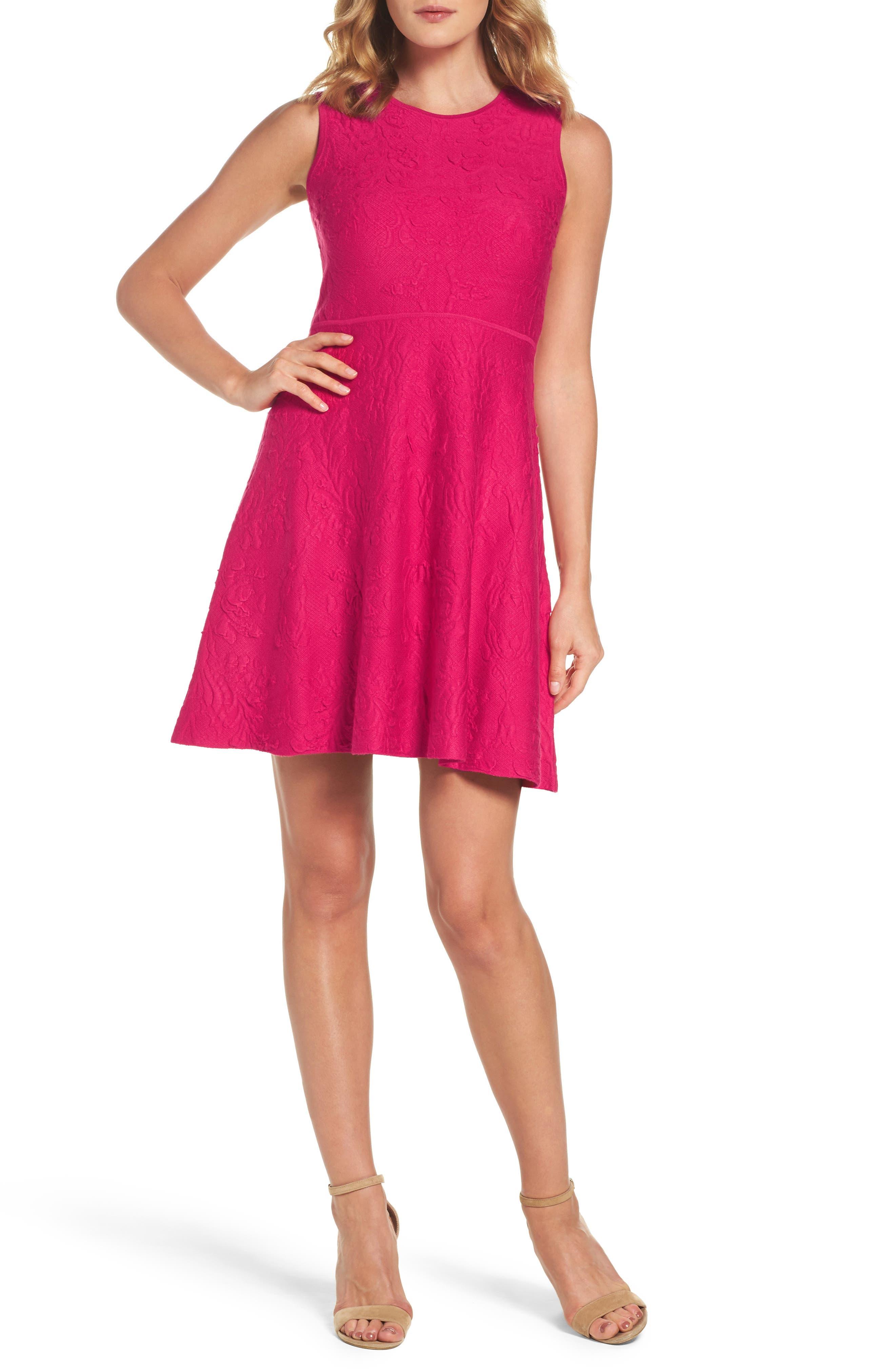 Texture Knit Fit & Flare Dress,                             Main thumbnail 1, color,                             660