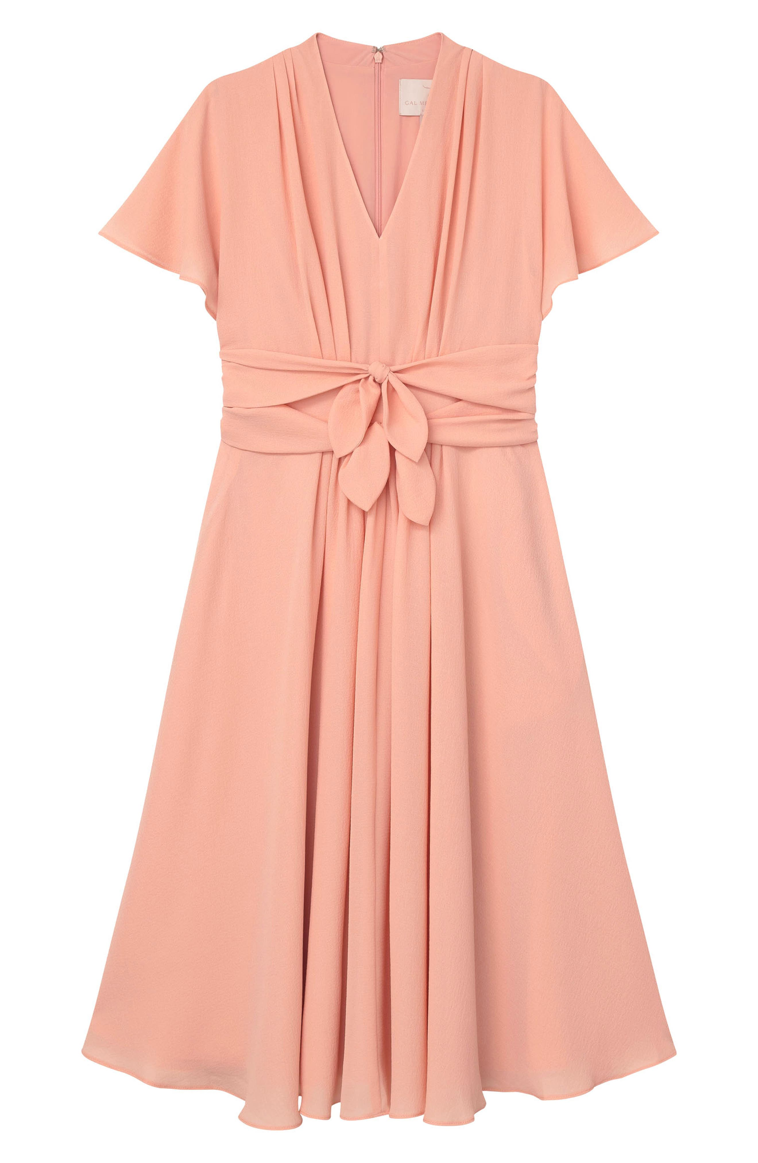 GAL MEETS GLAM COLLECTION,                             Jane Tie Waist Midi Dress,                             Alternate thumbnail 4, color,                             CORAL