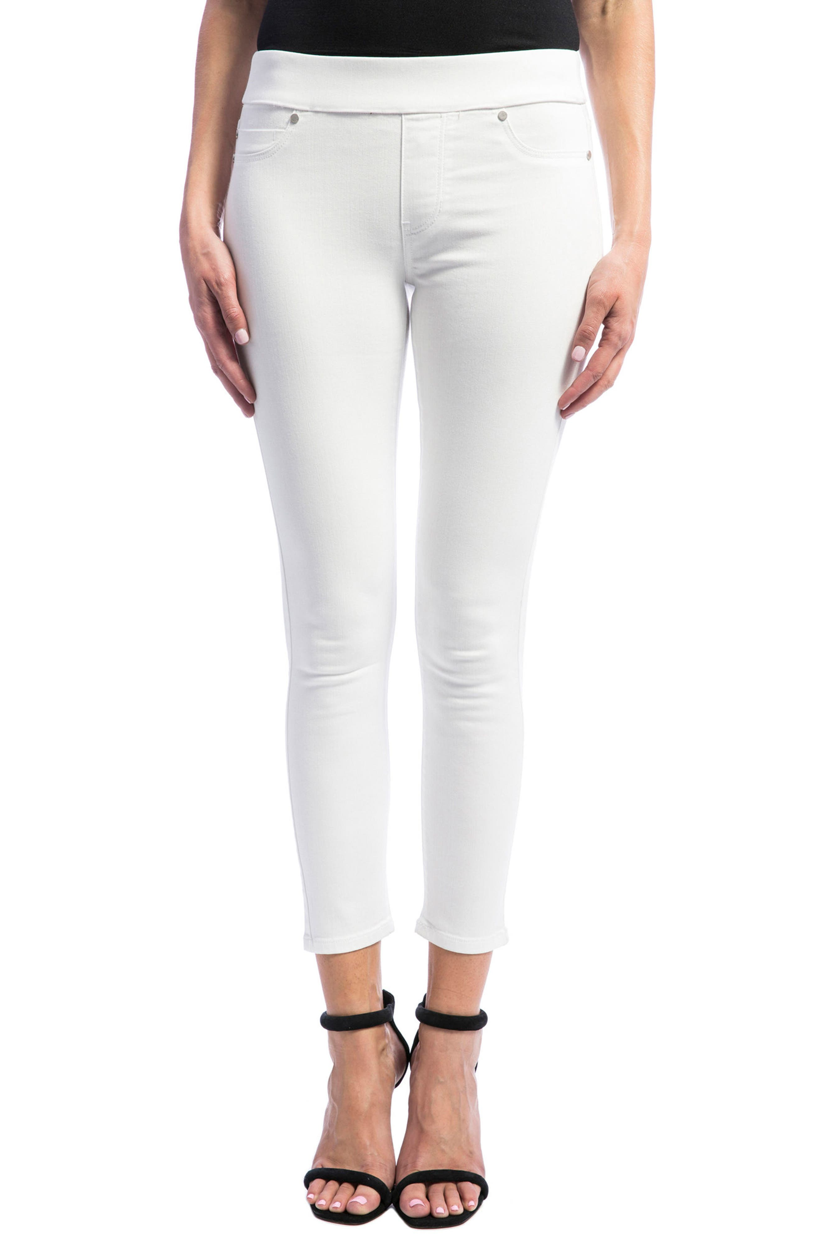 Sienna Pull-On Stretch Skinny Ankle Jeans,                             Main thumbnail 1, color,                             BRIGHT WHITE