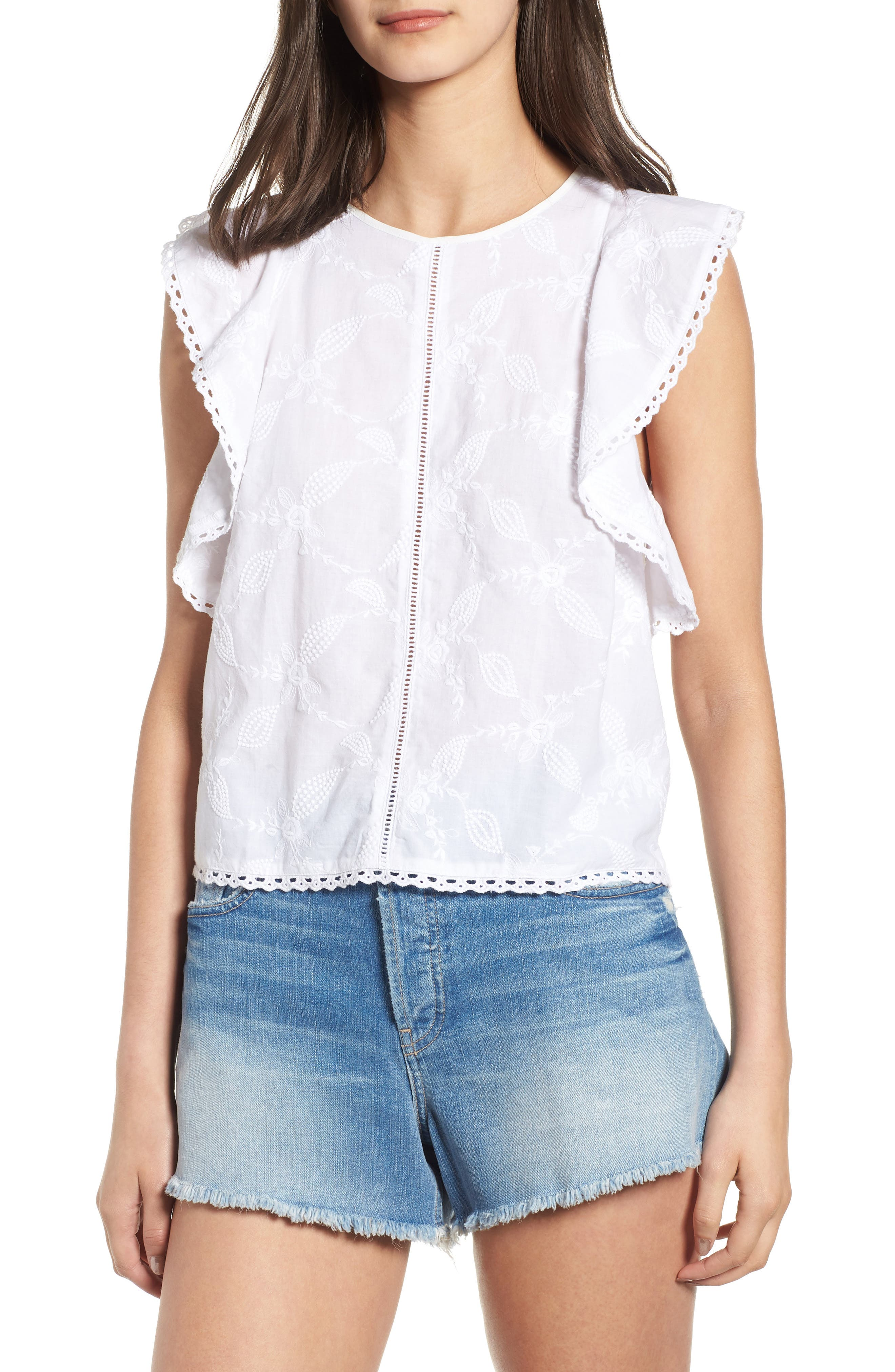 Flutter Sleeve Embroidered Top,                         Main,                         color, WHITE