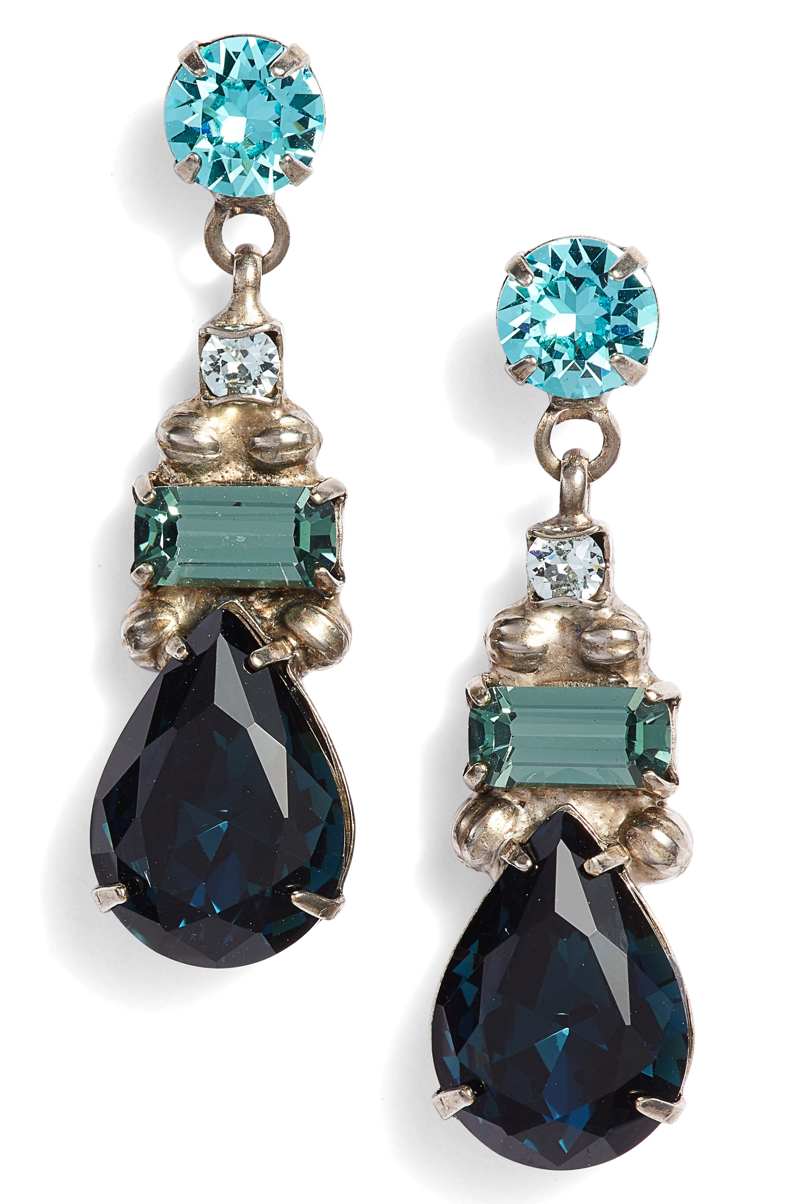 SORRELLI Pear Crystal Drop Earrings in Blue Multi