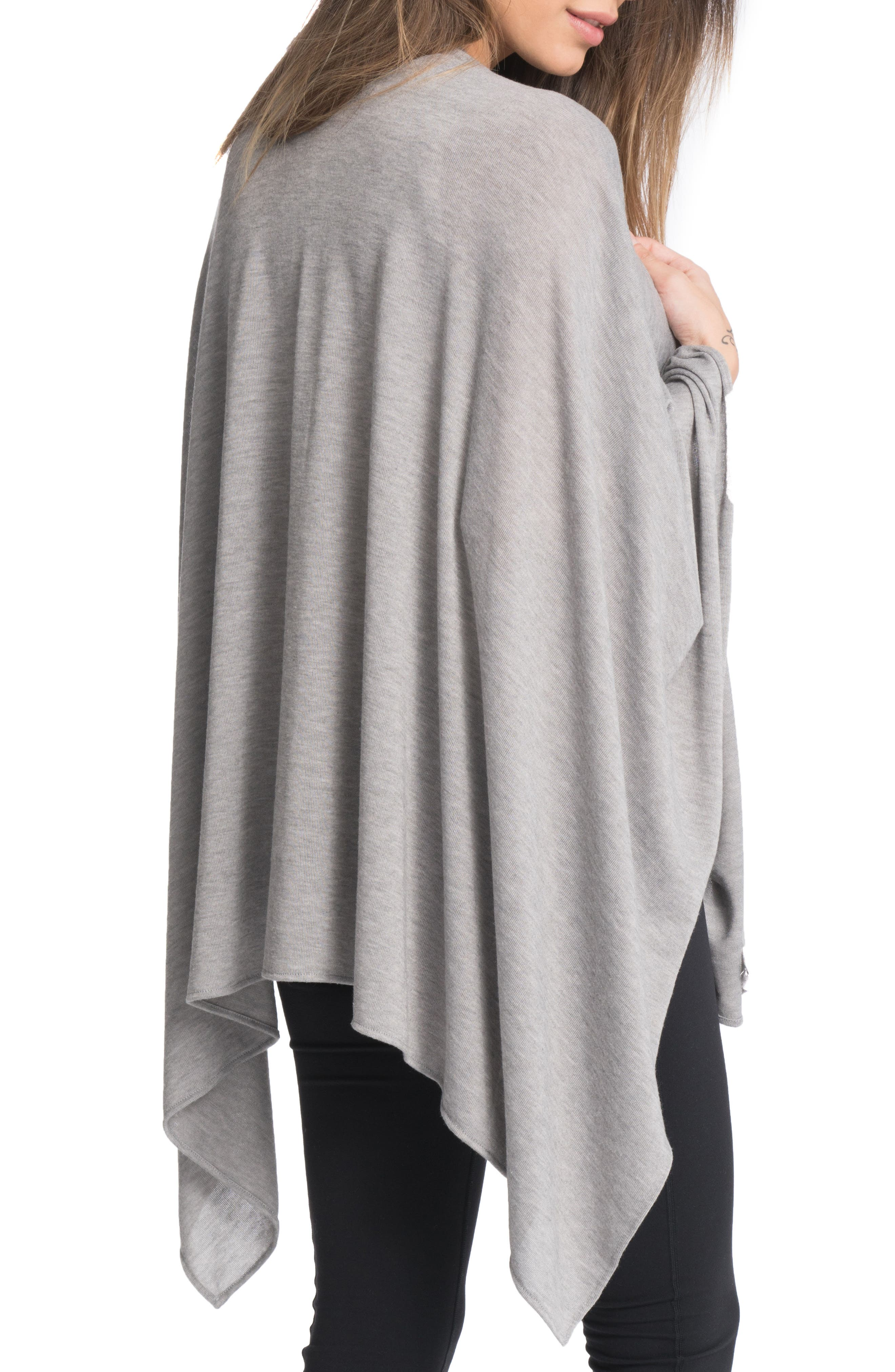 Cozy Up Three-Way Maternity/Nursing Wrap,                             Alternate thumbnail 2, color,                             HEATHER GREY