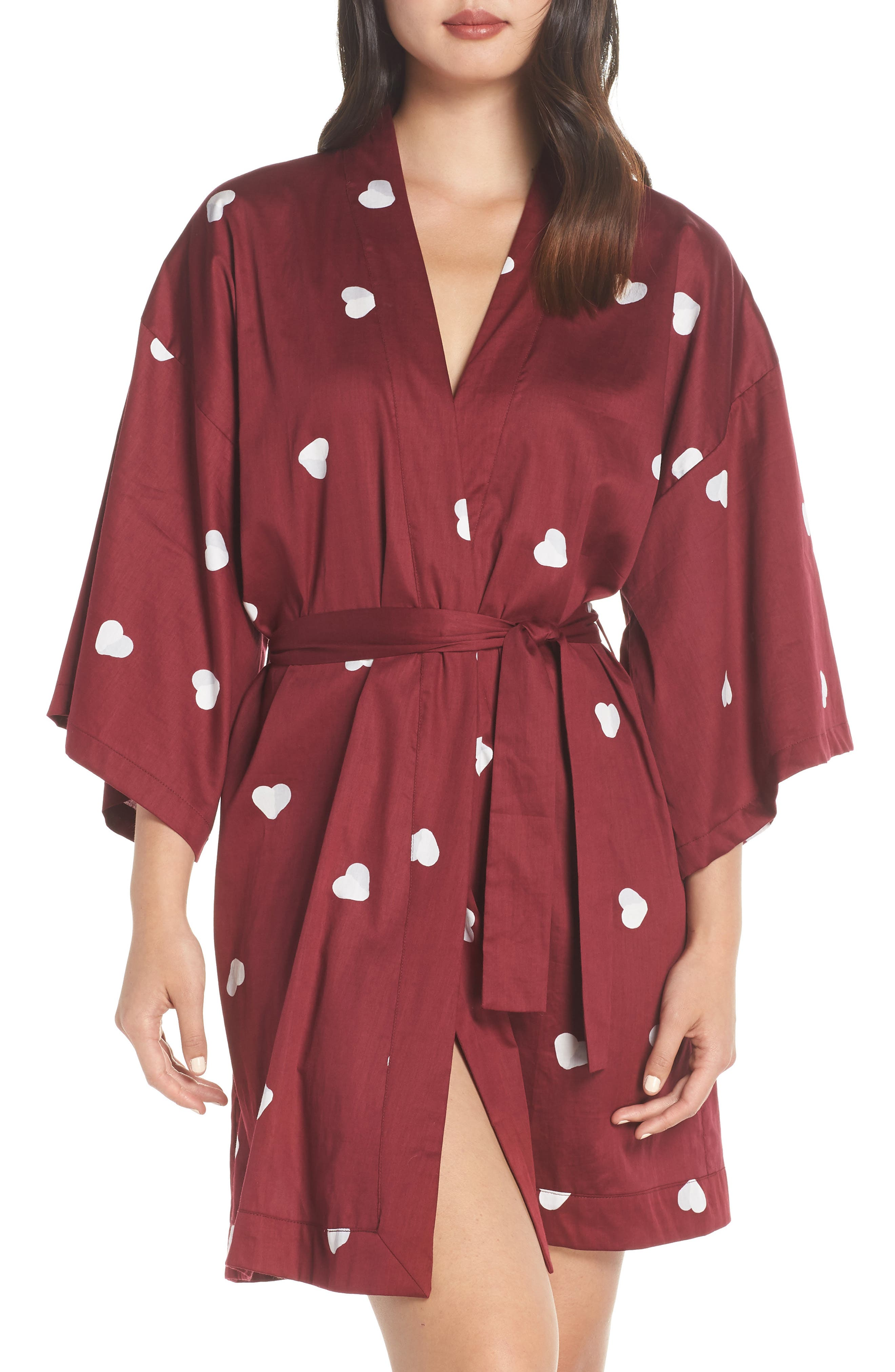 Margaux Short Cotton Robe, Main, color, LONELY HEARTS MAROON