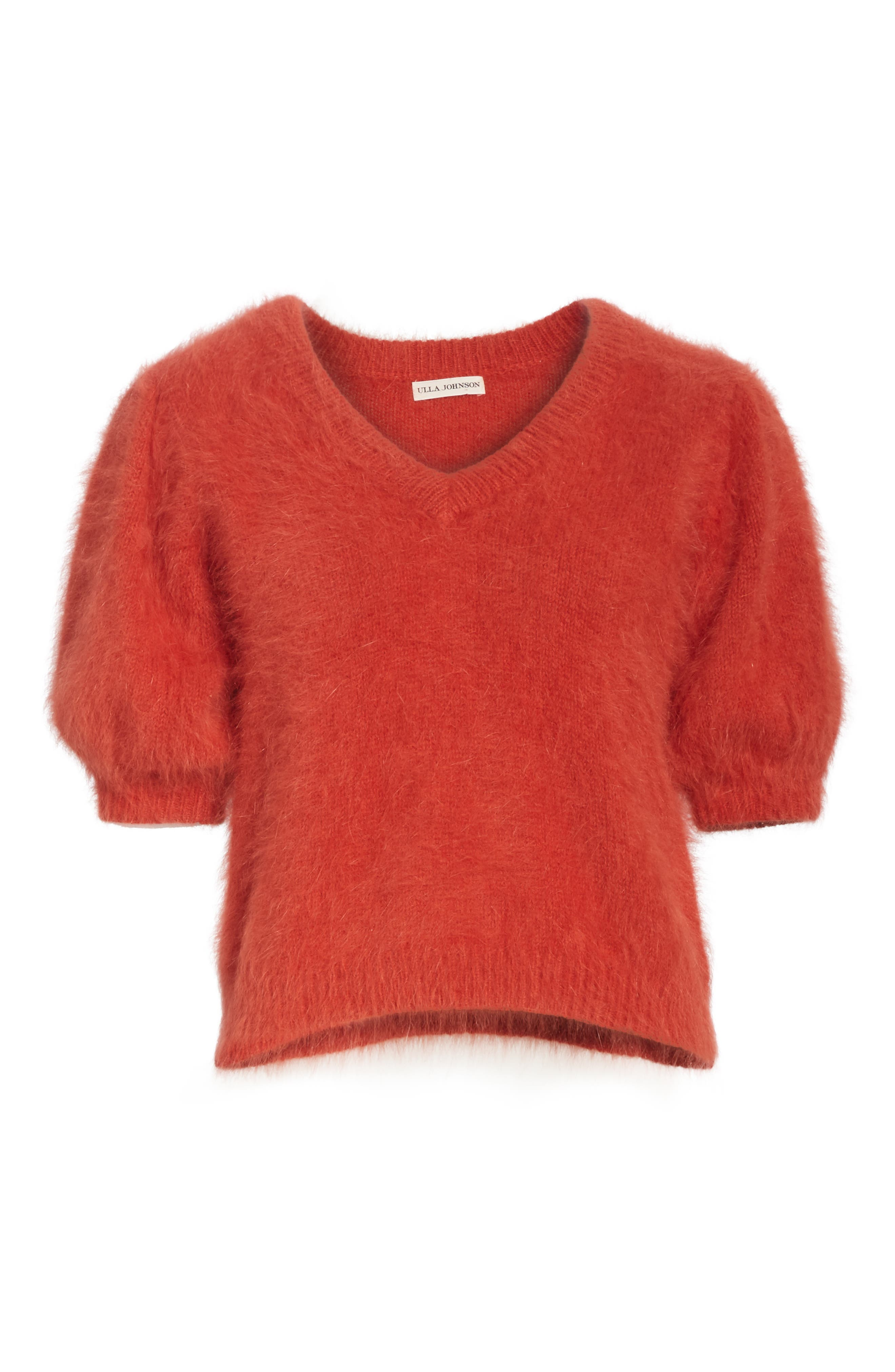 Aries Puff Sleeve Sweater,                             Alternate thumbnail 6, color,                             CRIMSON