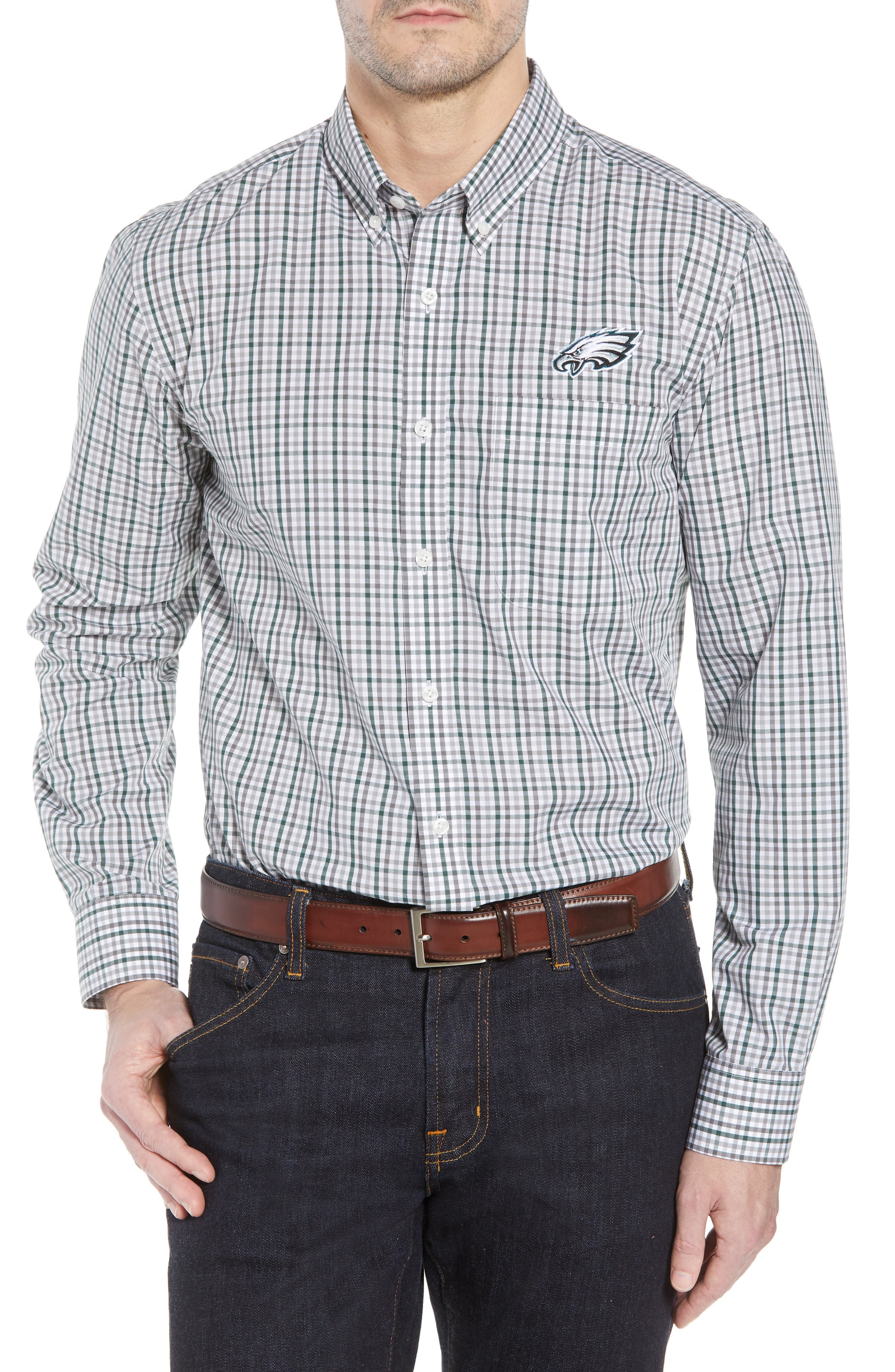 Philadelphia Eagles - Gilman Regular Fit Plaid Sport Shirt,                         Main,                         color, HUNTER