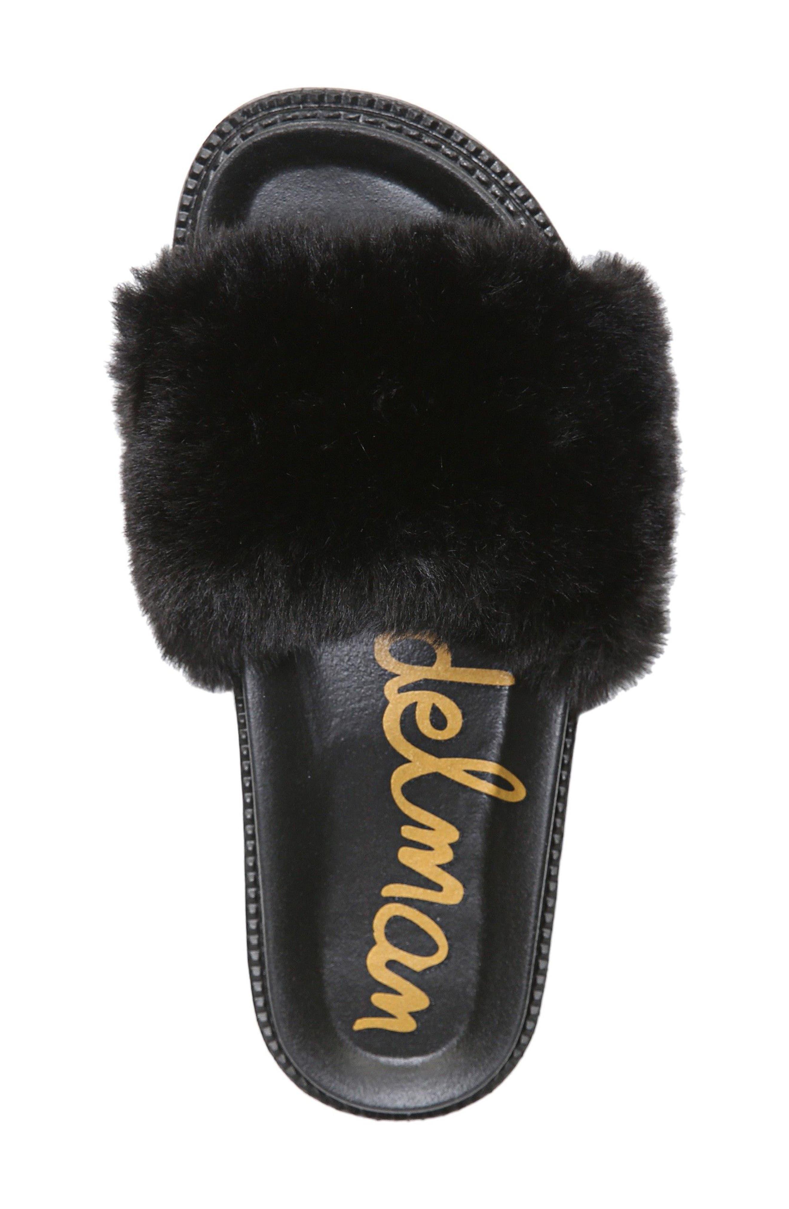 SAM EDELMAN,                             Blaire Faux Fur Platform Slide Sandal,                             Alternate thumbnail 5, color,                             001