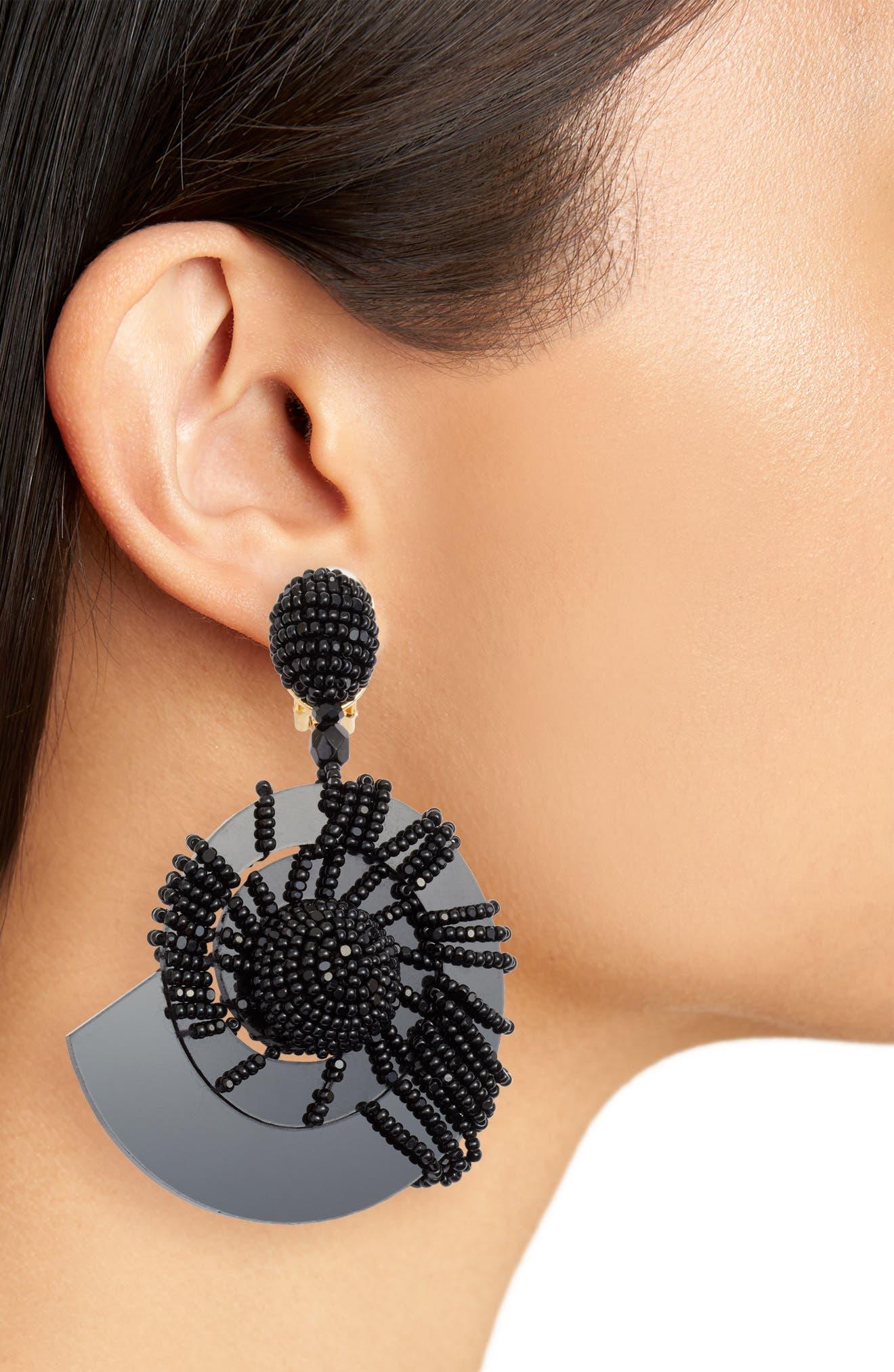 Beaded Seashell Earrings,                             Alternate thumbnail 2, color,                             001
