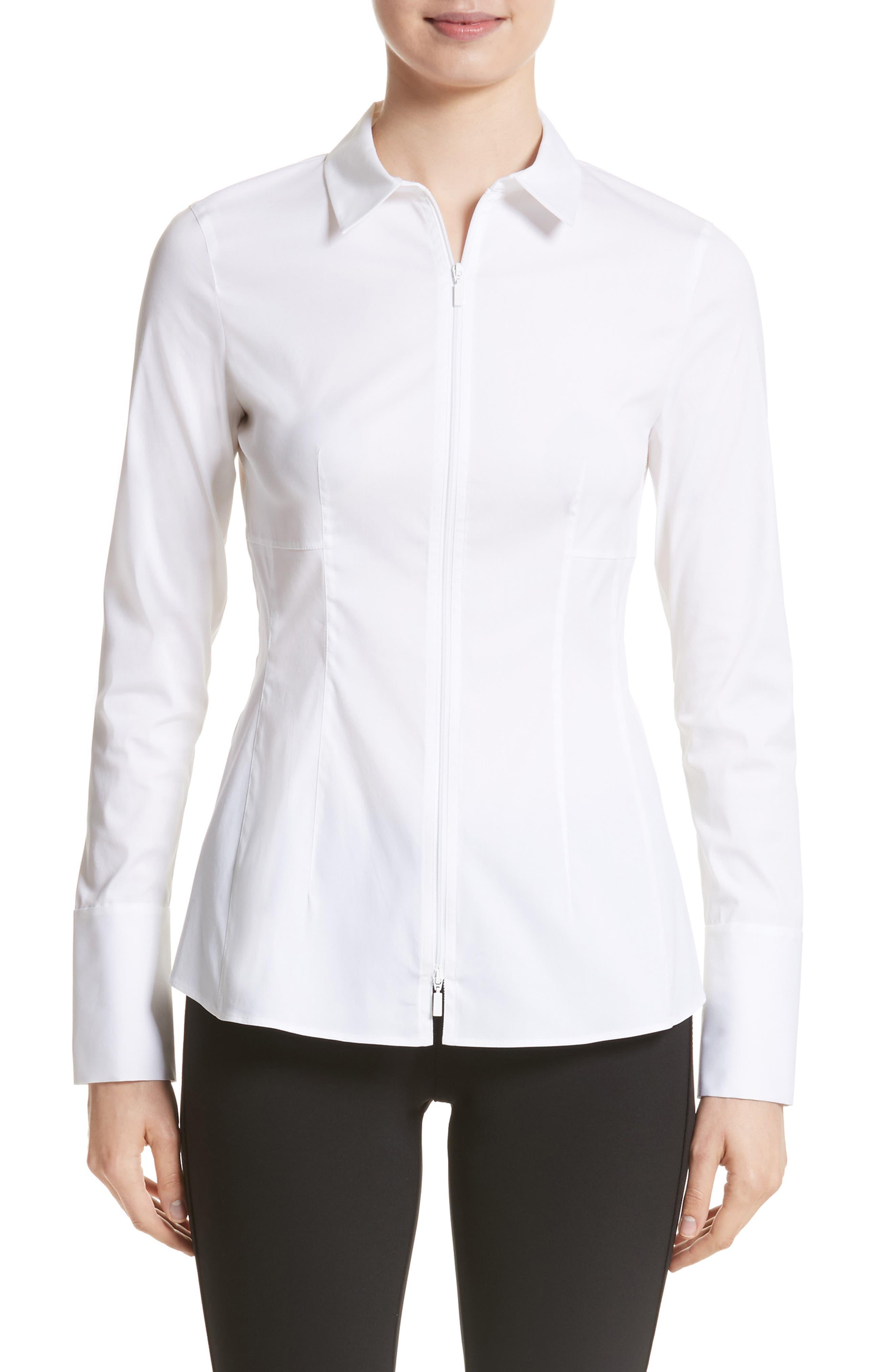 Kia Stretch Cotton Blouse,                         Main,                         color, 100