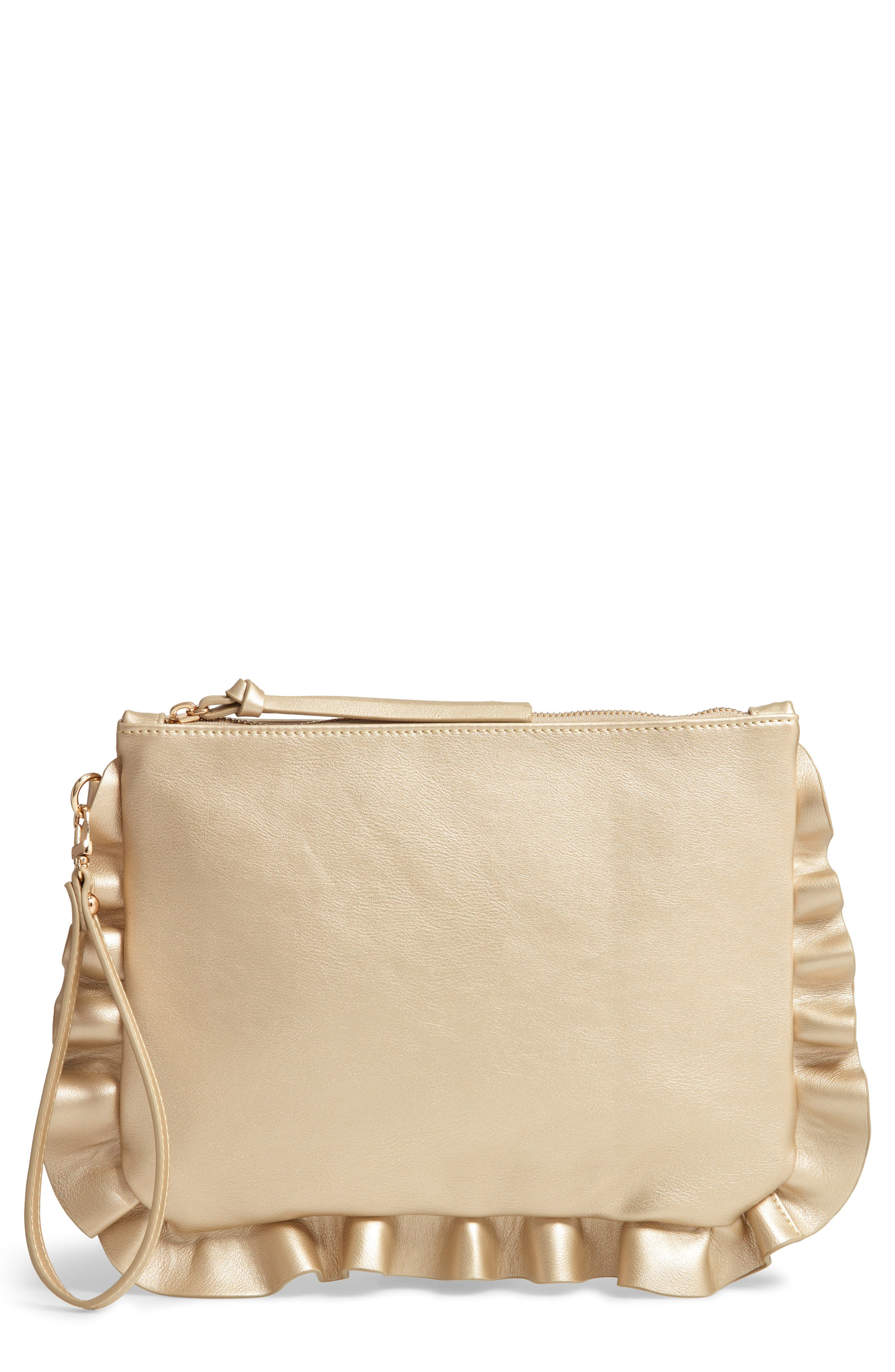 SOLE SOCIETY Adelina Faux Leather Ruffle Clutch, Main, color, GOLD