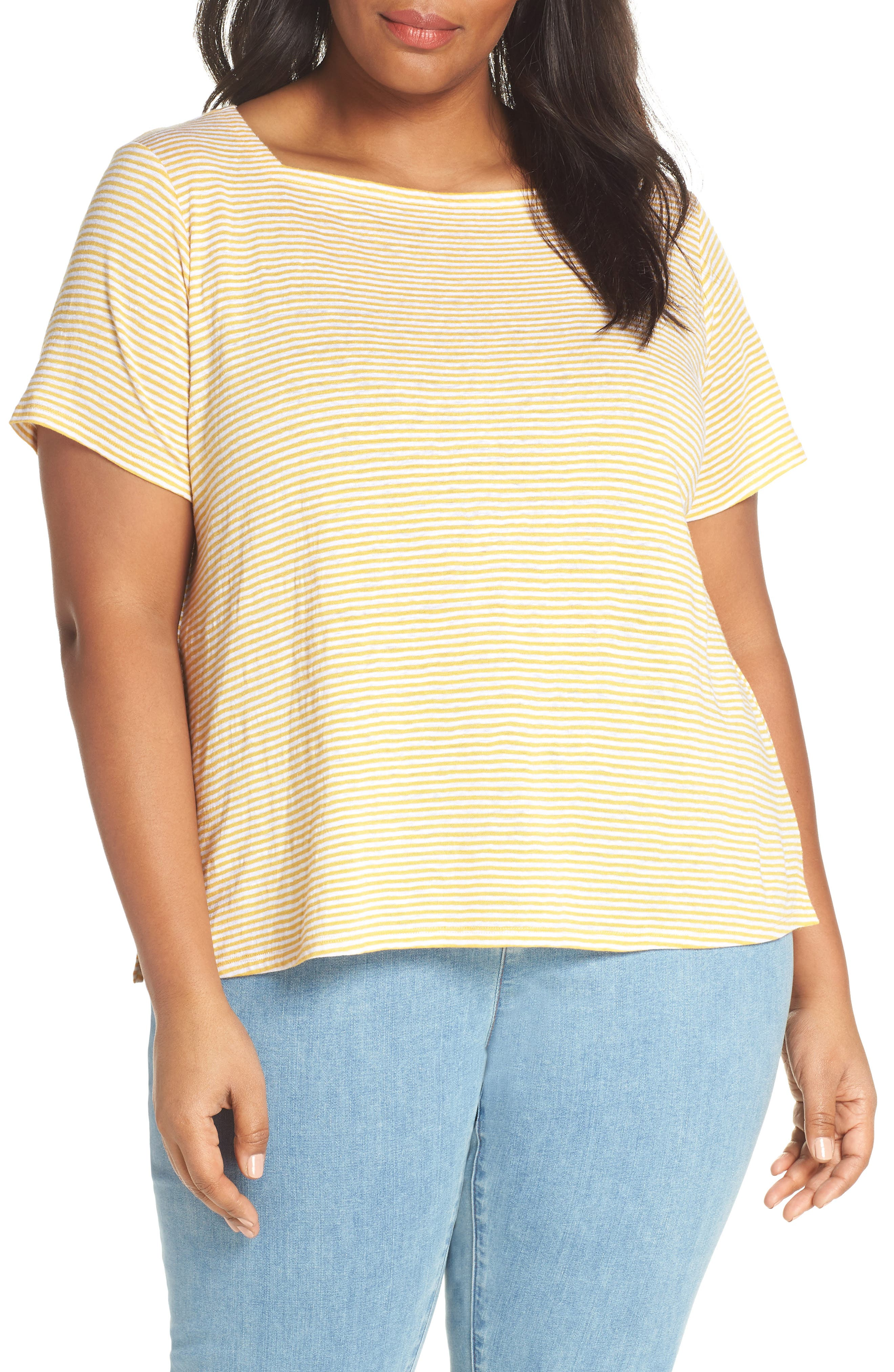 Square Neck Stripe Tee,                             Main thumbnail 1, color,                             MARIGOLD