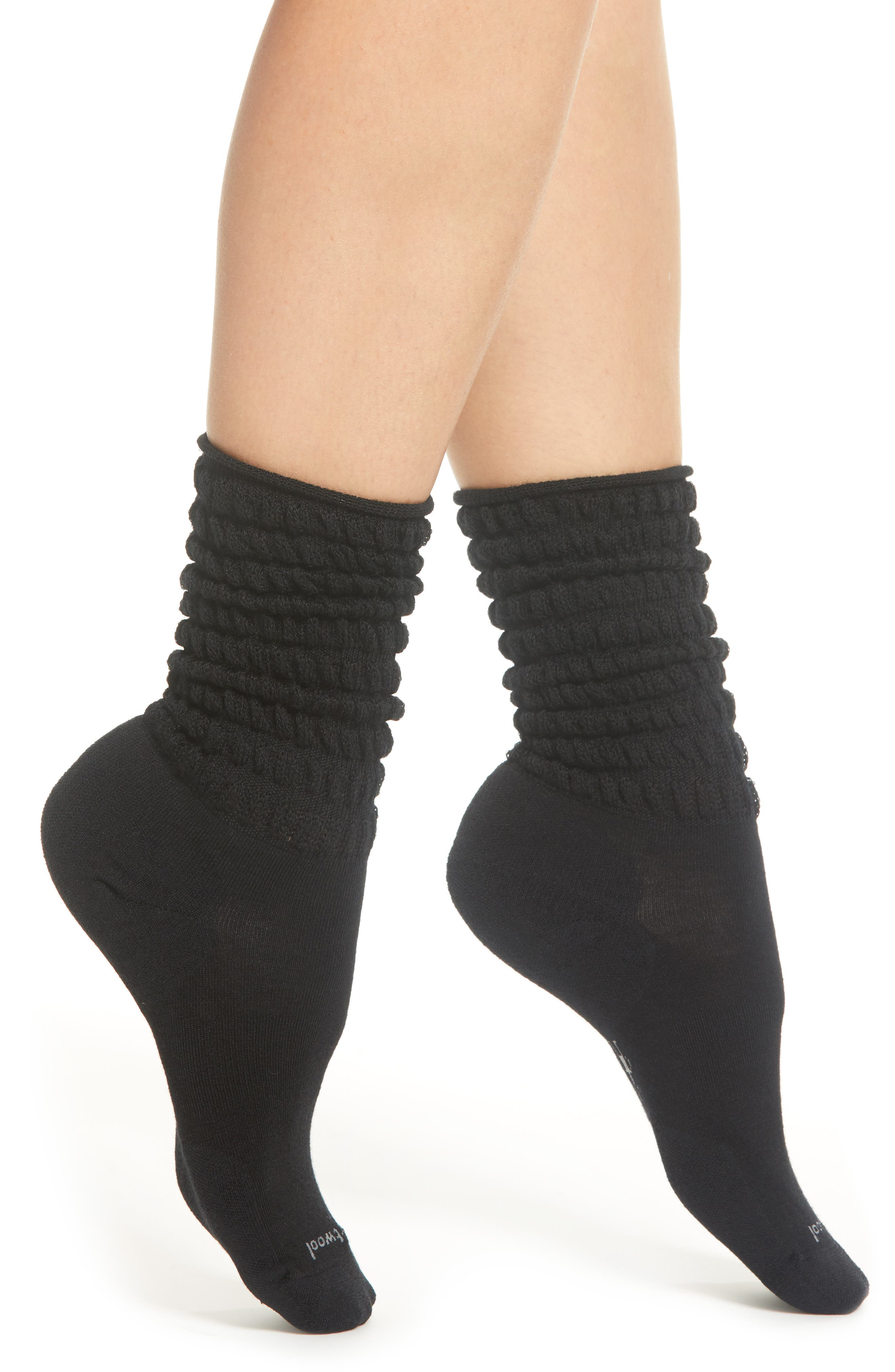 Slouch Crew Socks,                         Main,                         color, BLACK
