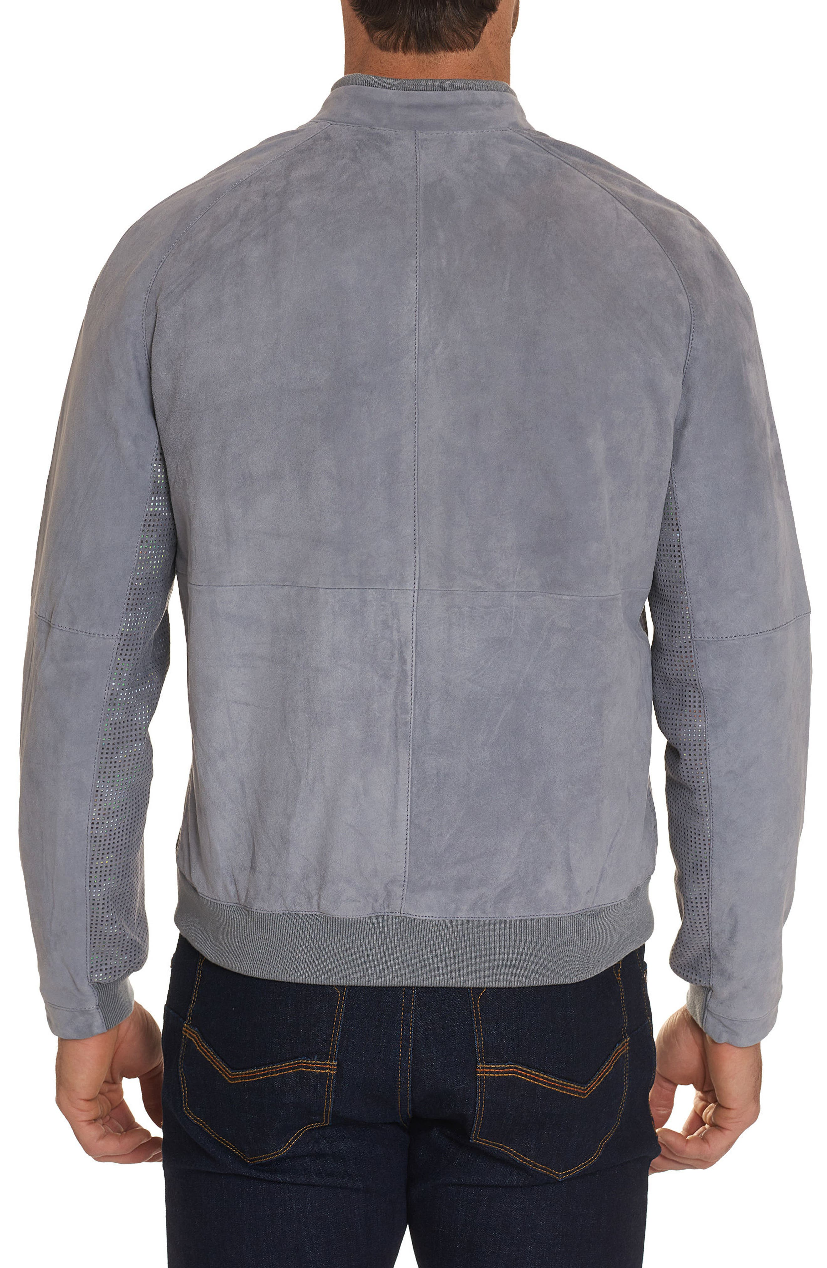 Ricardo Tailored Fit Suede Bomber Jacket,                             Alternate thumbnail 2, color,                             GREY
