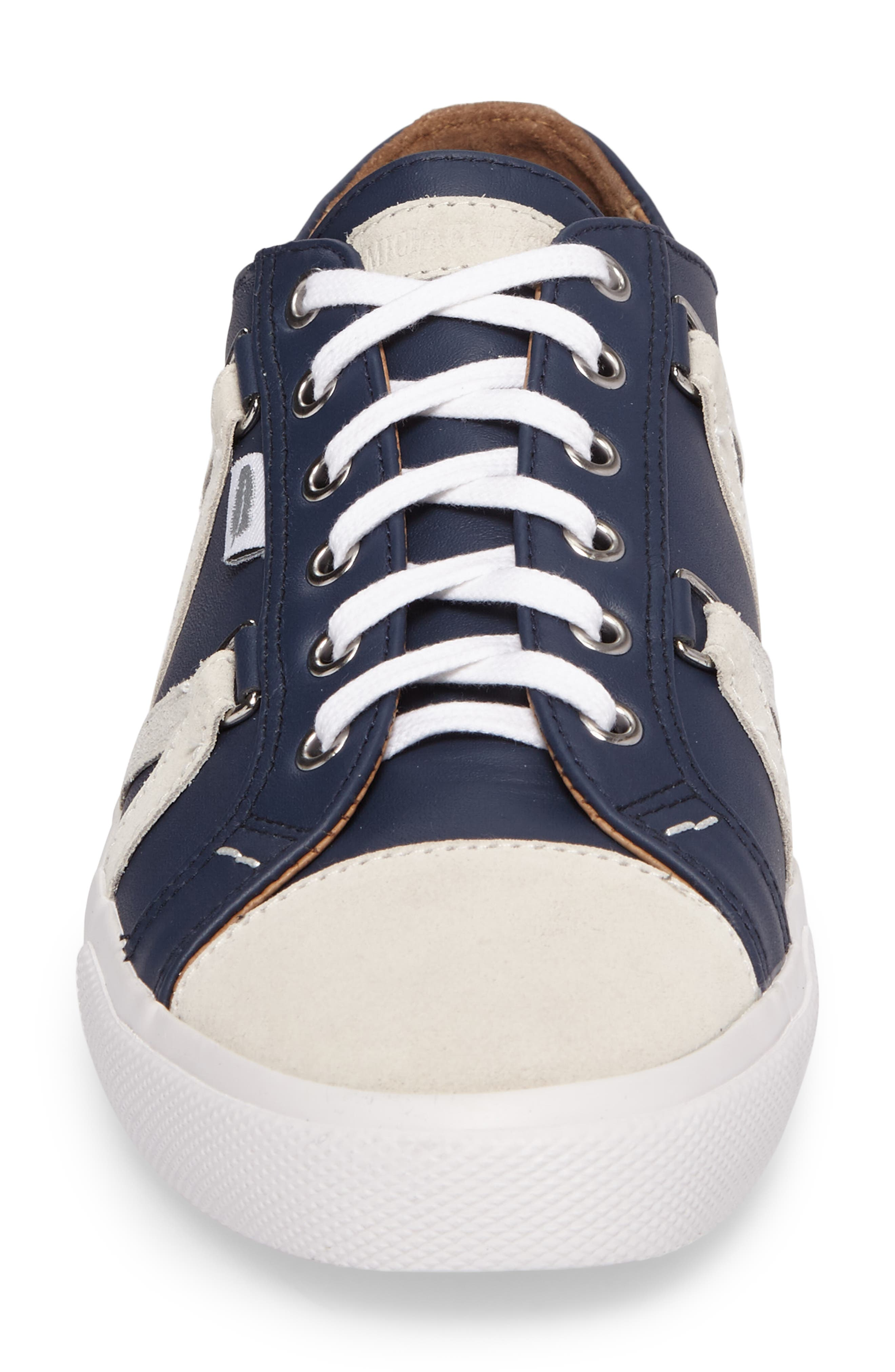 Signature Sneaker,                             Alternate thumbnail 4, color,                             NAVY LEATHER