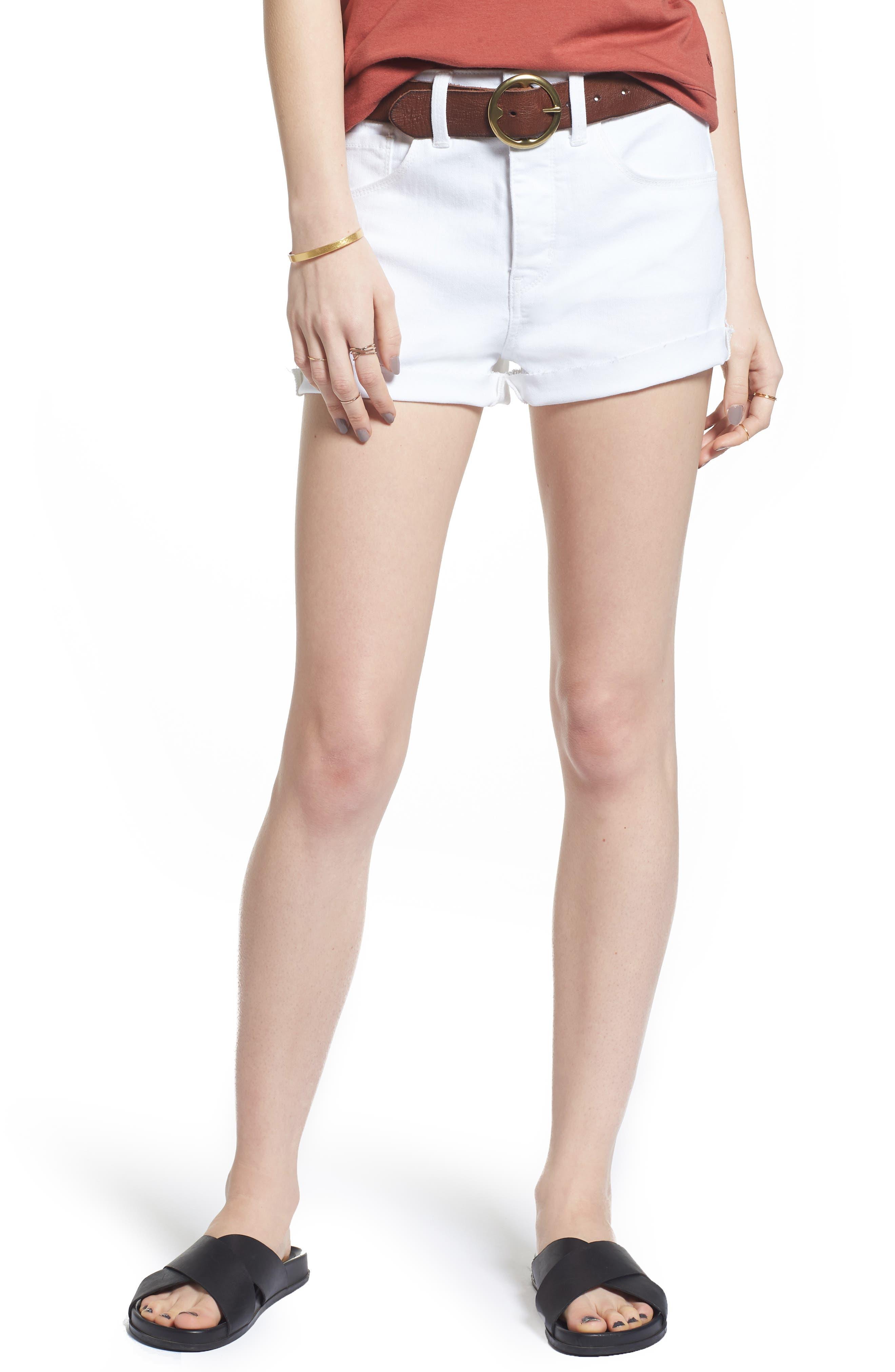 High Waist Cutoff Denim Shorts,                         Main,                         color, 100