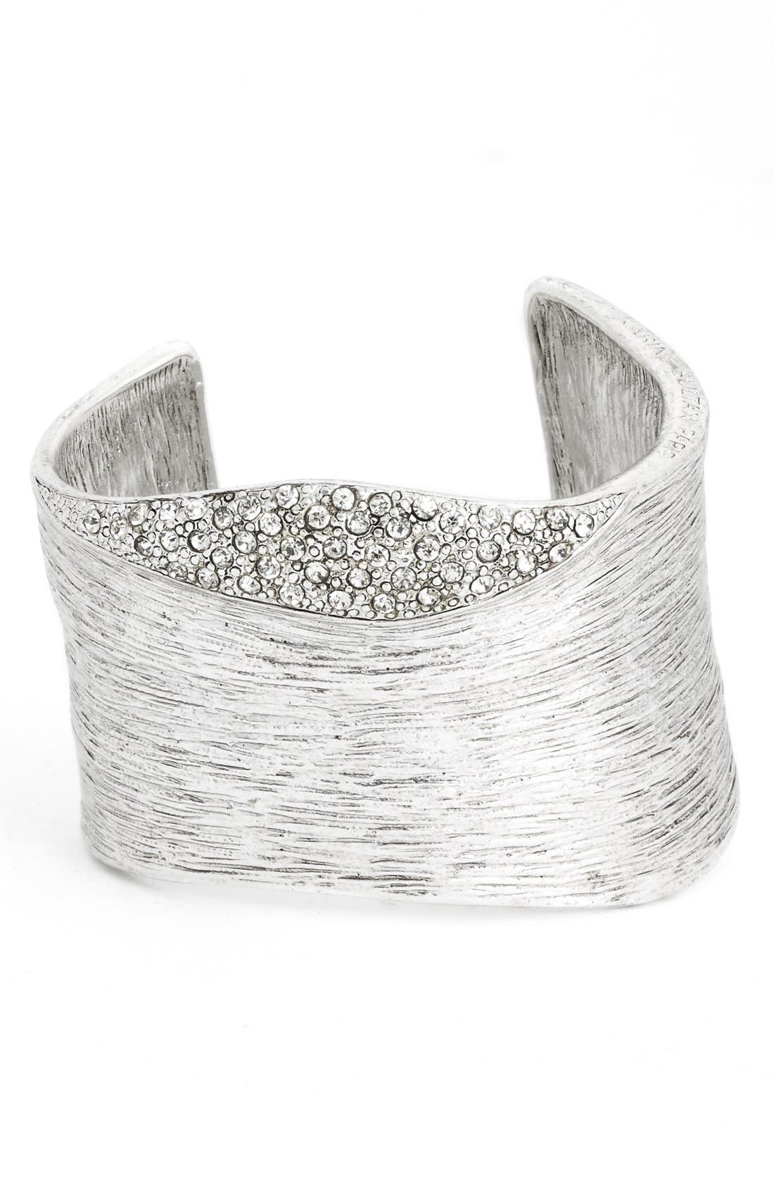 Textured Cubic Zirconia Cuff,                             Main thumbnail 1, color,                             SILVER