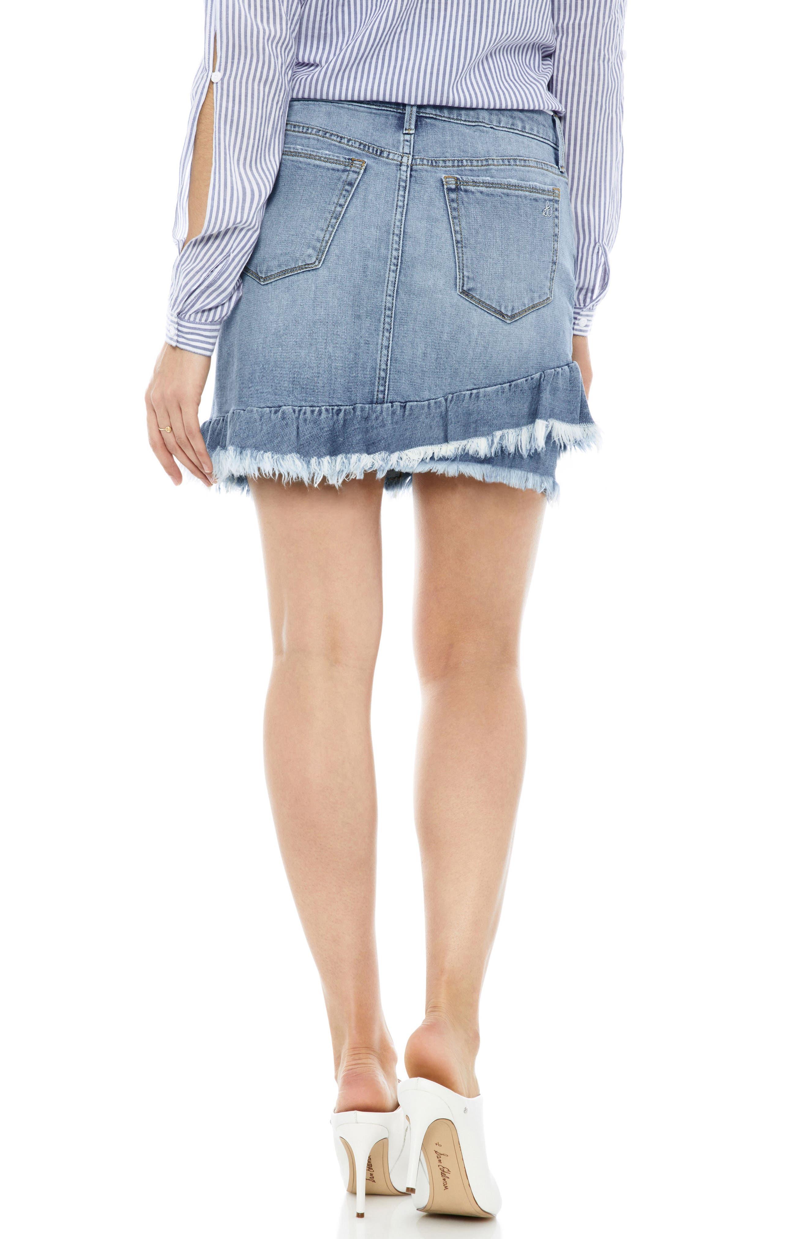 The Karol Asymmetrical Ruffle Hem Stretch Denim Skirt,                             Alternate thumbnail 2, color,                             450