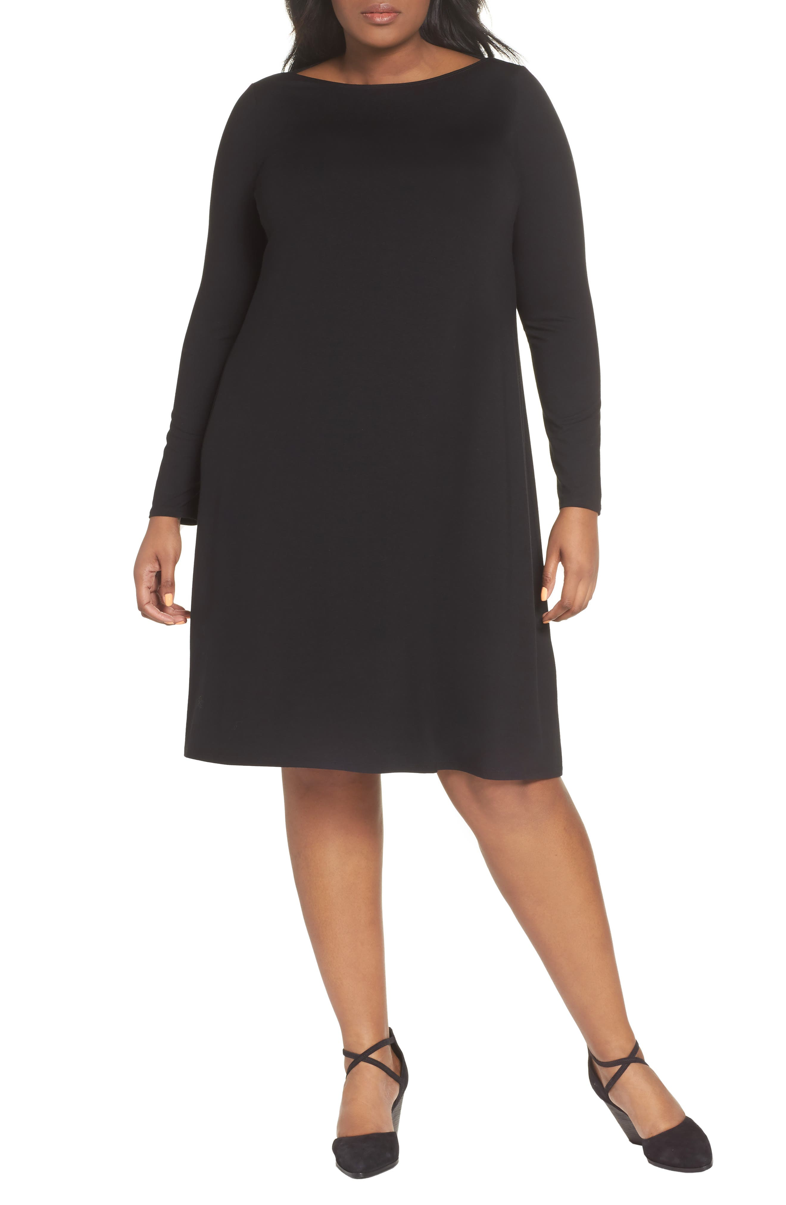 Bateau Neck Jersey Shift Dress,                             Alternate thumbnail 2, color,                             002