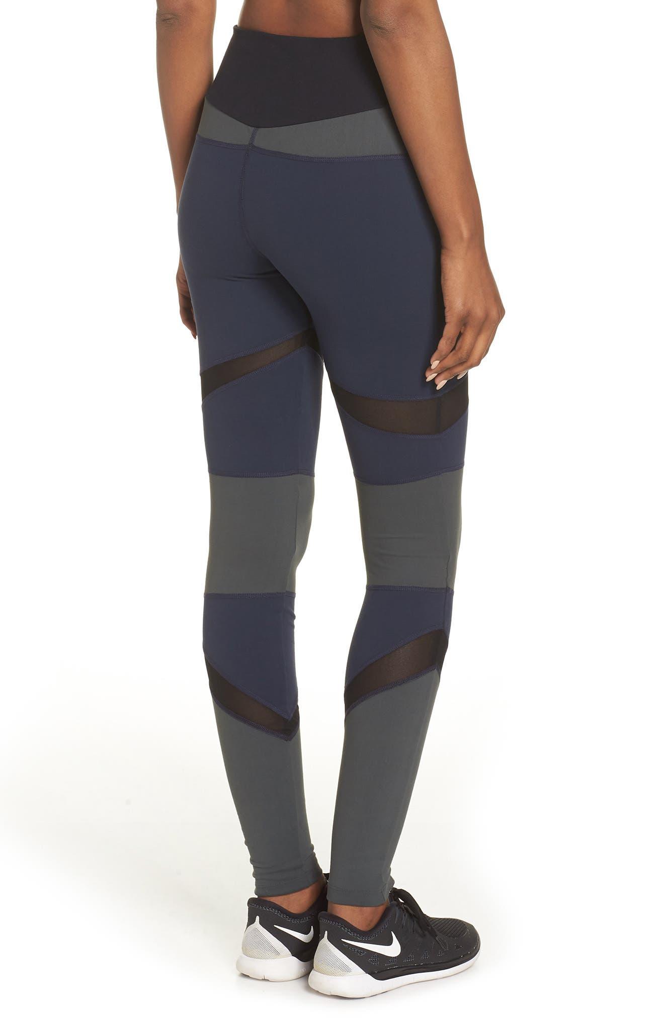 BoomBoom Athletica Brushed Tricolor Panel Leggings,                             Alternate thumbnail 2, color,                             NAVY/ BLACK/ GREEN